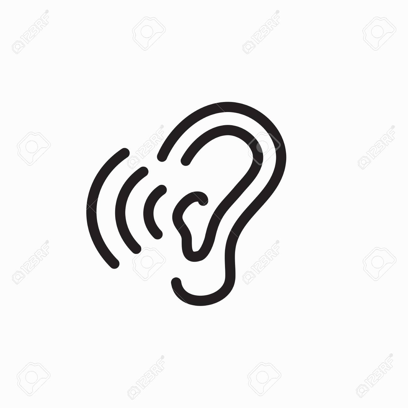 ear and ear canal outline icon image hearing or listening loss
