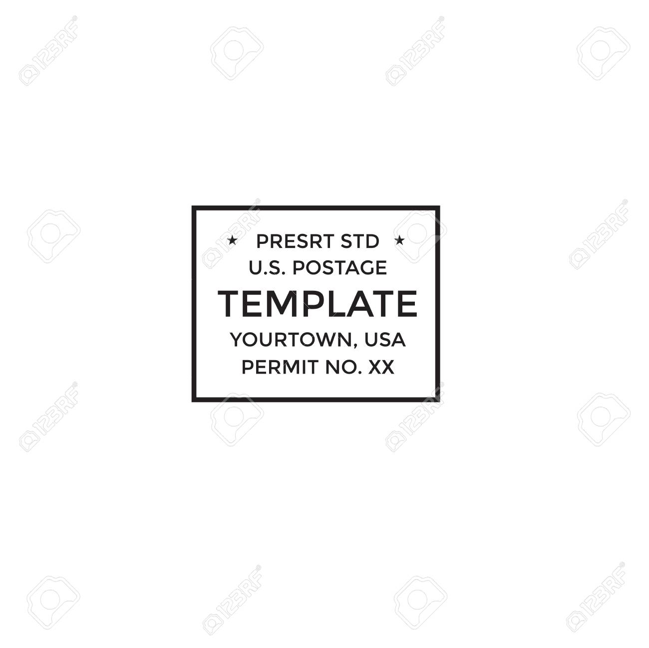 Postal cancellation First Class mail w Postage Paid mark Stock Vector - 93197671