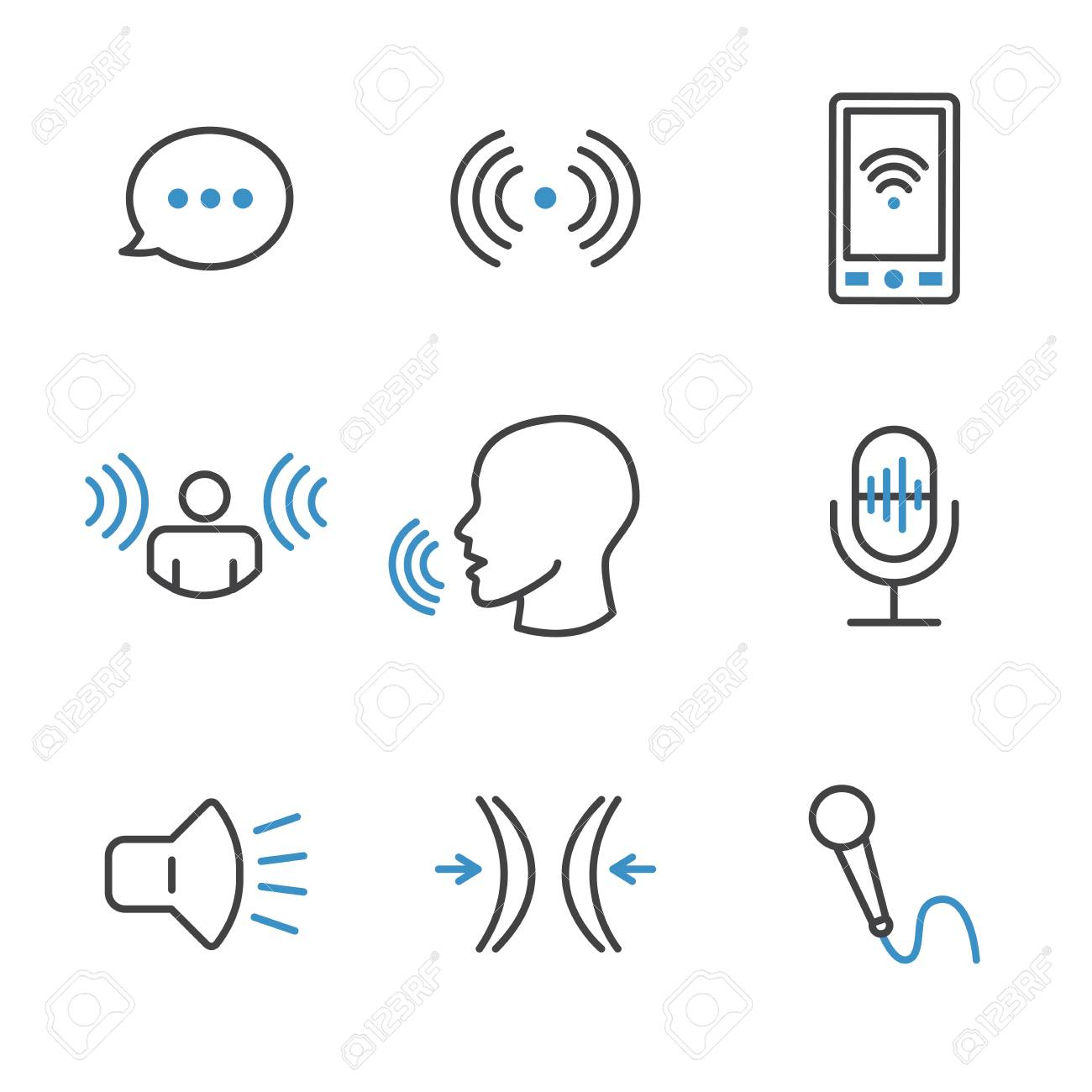 Voice Recording and Voiceover Icon Set w Microphone, Voice Scan