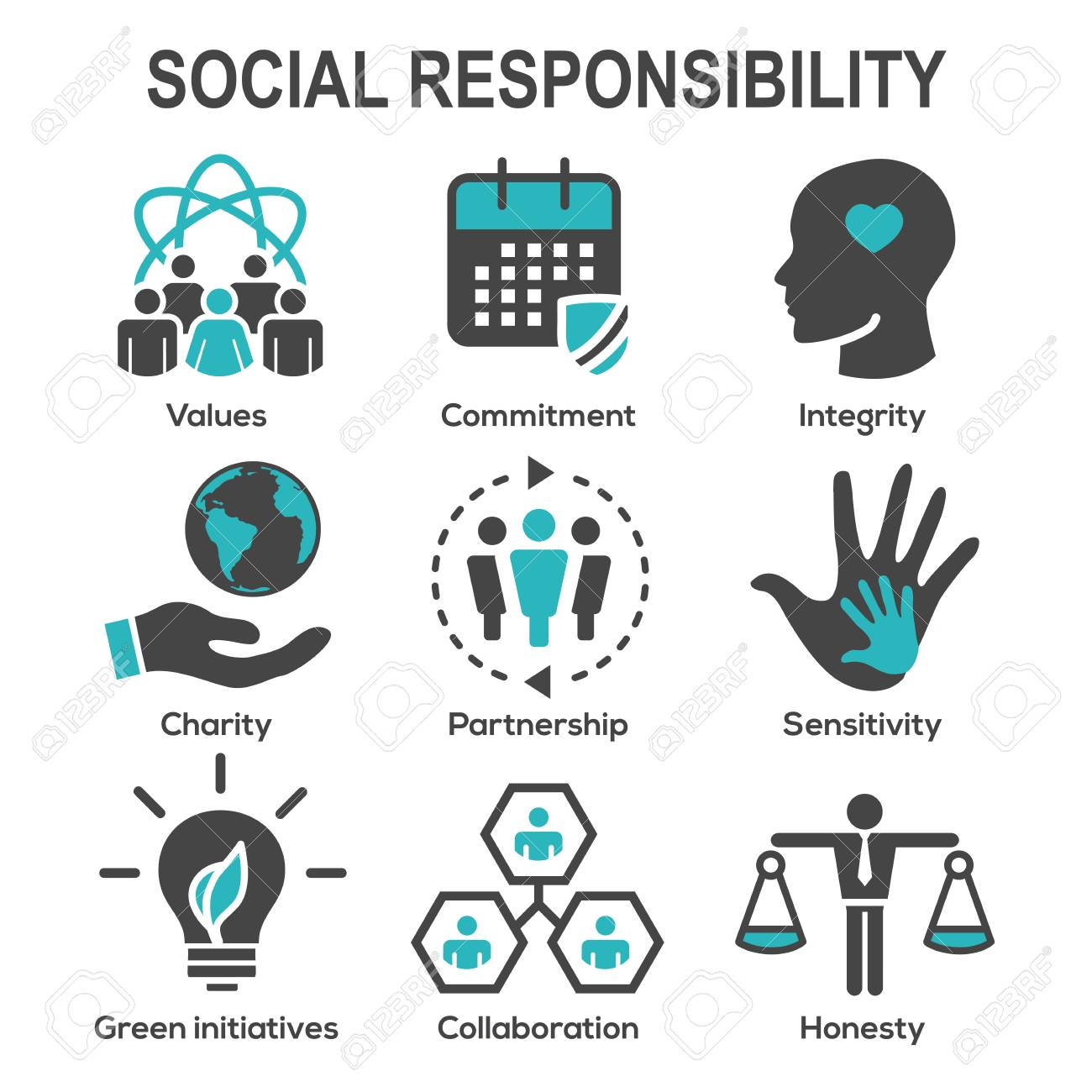 Social Responsibility Solid Icon Set with Honesty, integrity, collaboration, etc - 97387263