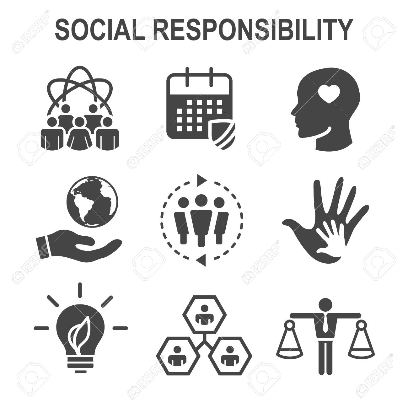 Social Responsibility Solid Icon Set with Honesty, integrity, collaboration, etc - 98317929