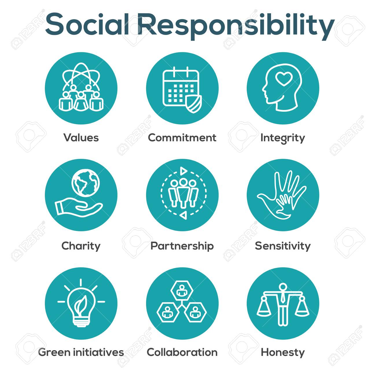 Social Responsibility Outline Icon Set with Honesty, integrity, & collaboration, etc - 99233335