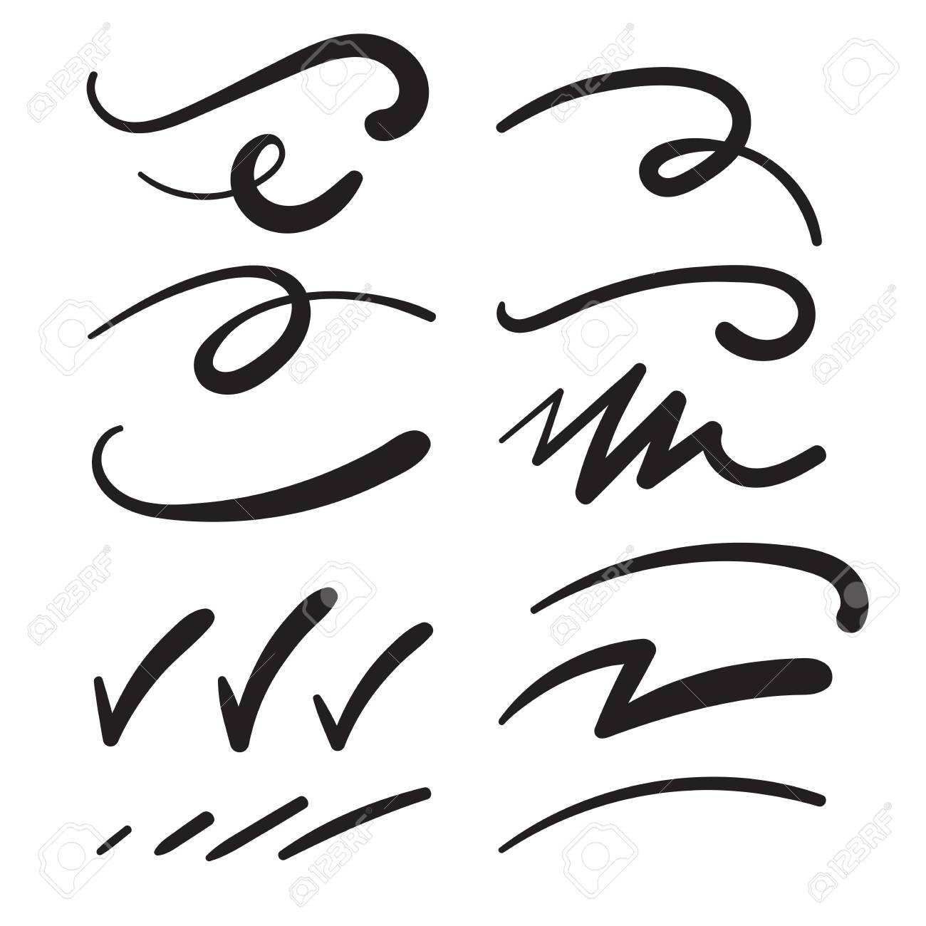 Swishes, Swashes, Swoops, Swooshes, Scribbles, & Squiggles for Typography Emphasis - 99233337