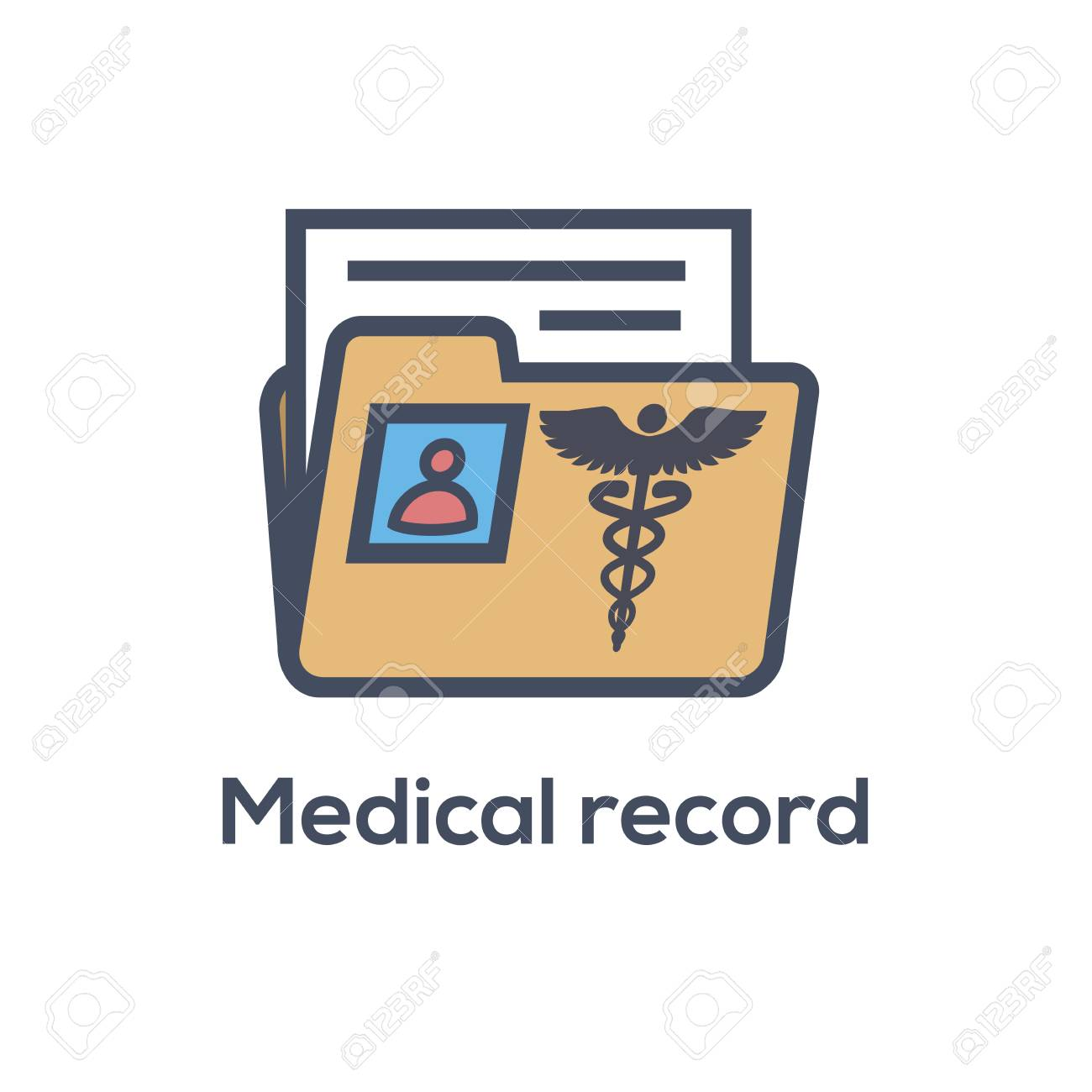 medical records icon caduceus and personal health record imagery