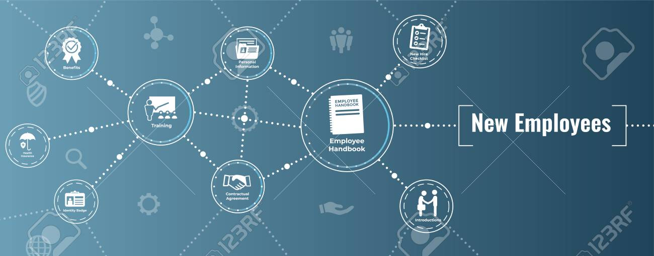 New Employee Hiring Process icon set with handbook, checklist, etc - 103834970