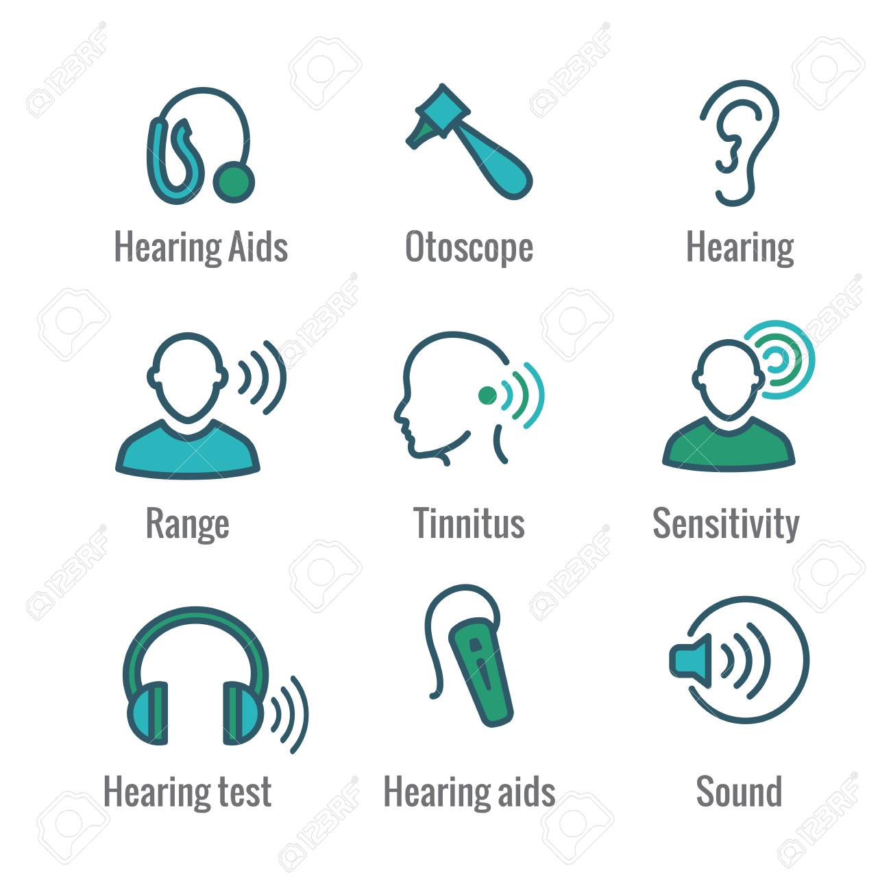 Hearing Aid or loss with Sound Wave Images Icon Set - 105929705