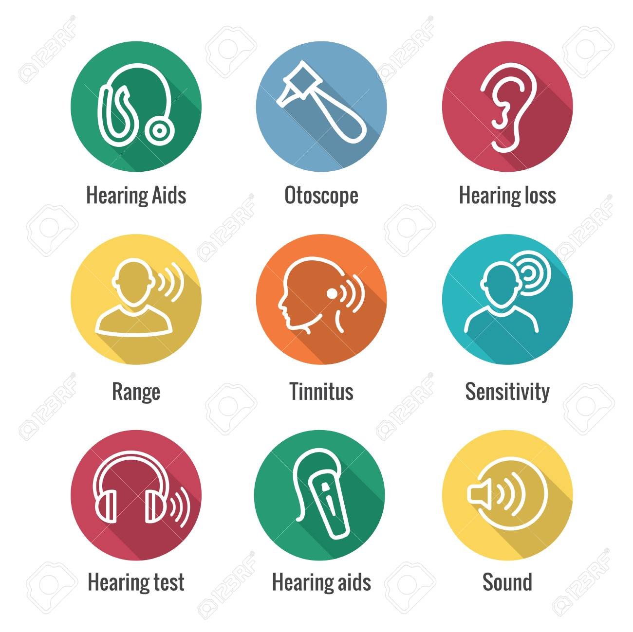 Hearing Aid or loss w Sound Wave Image Icon Set - 106316046