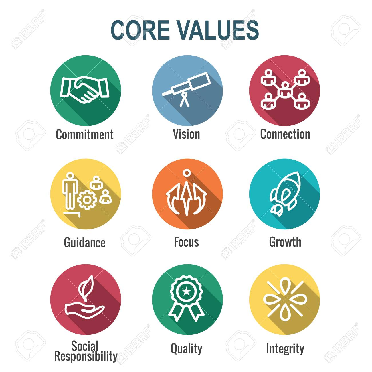 Core Values Outline or Line Icon Conveying Integrity & Purpose - 113541780