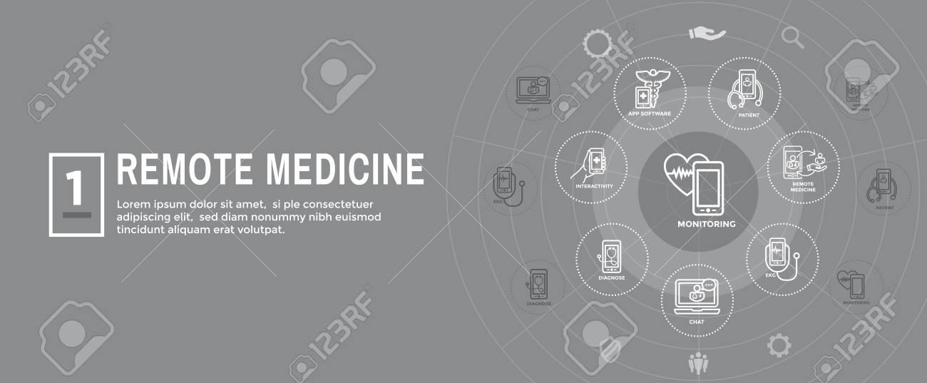 Telemedicine abstract idea - icons illustrating remote health