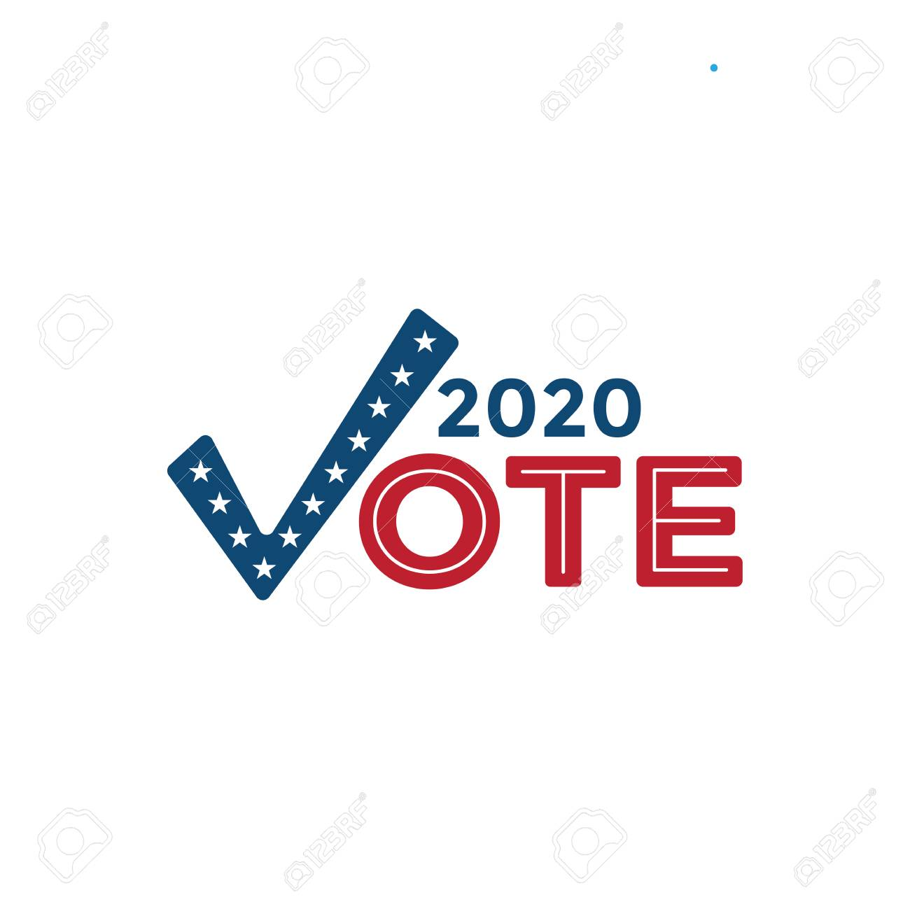 Voting 2020 Icon w Vote, Government, and Patriotic Symbolism and Colors - 117427747