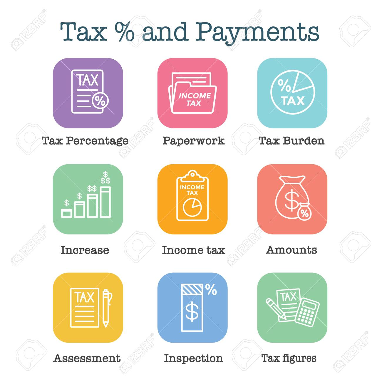 Tax concept w percentage paid, icon and income idea. Flat vector outline illustration. - 128005416