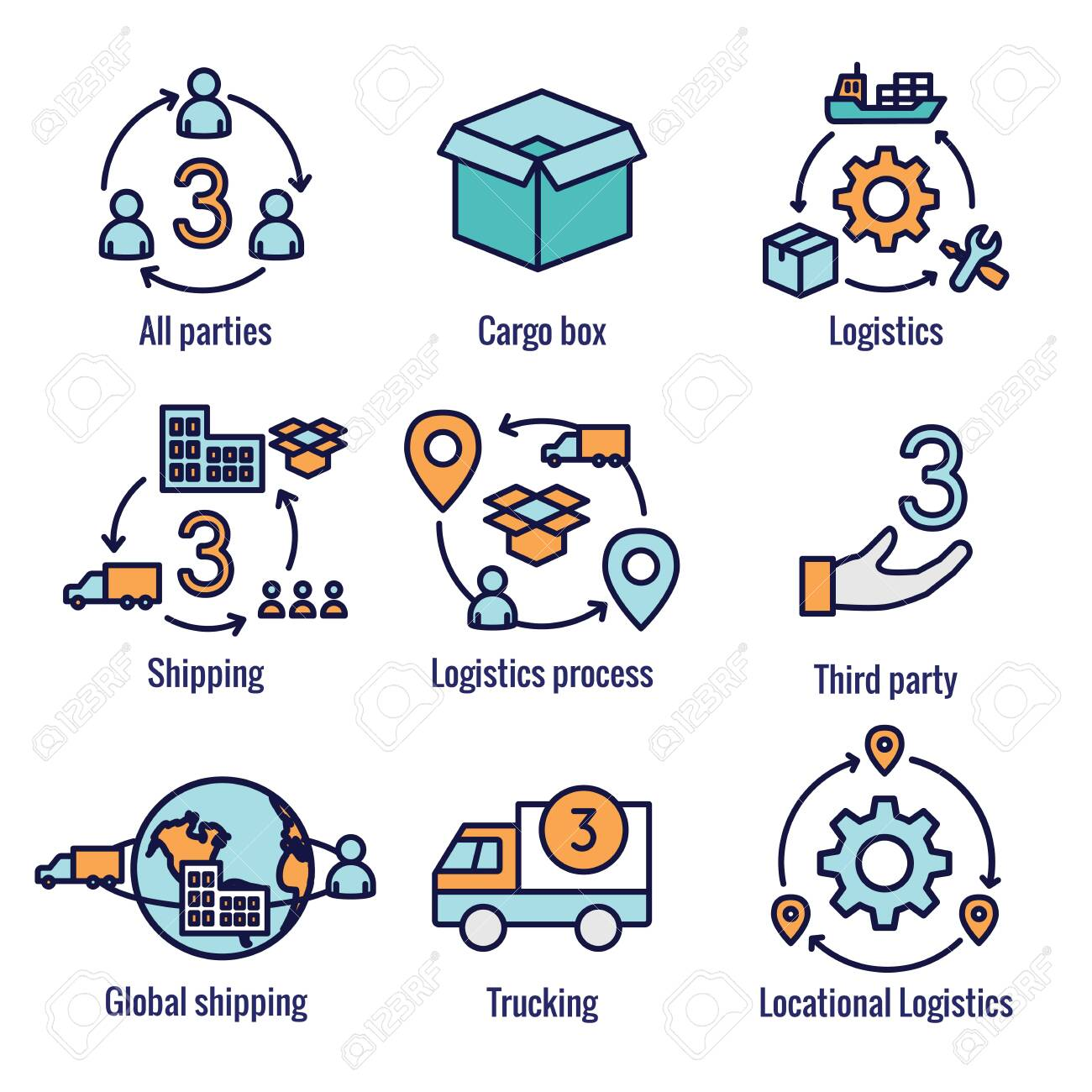 Logistics icon set w buildings, trucking, people and shipping box - 132035104