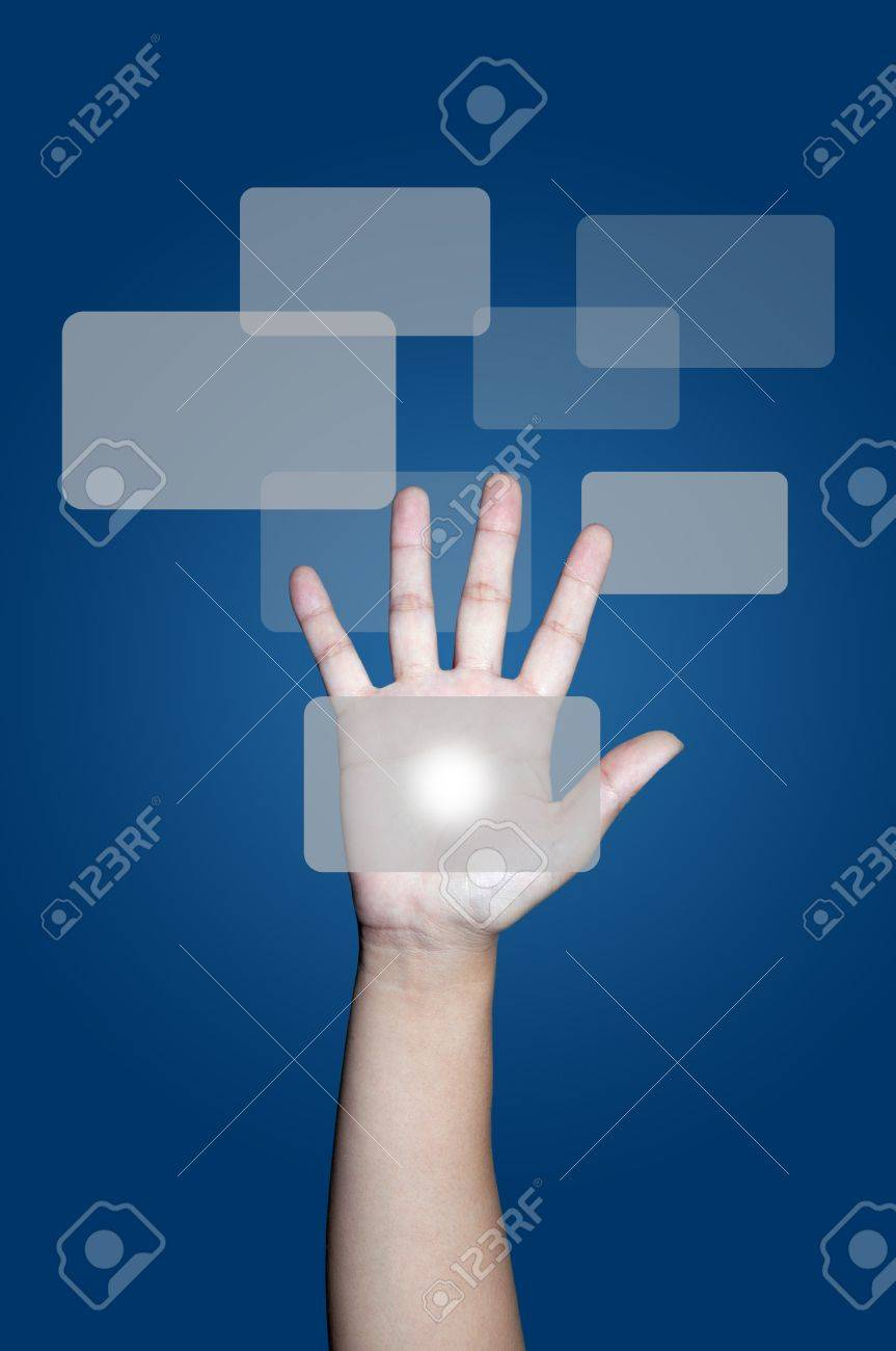 Hand touching text box on screen Stock Photo - 9152703