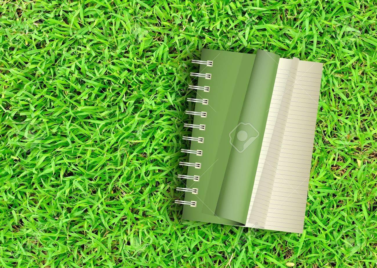 Green Notebook opening on green grass background Stock Photo - 8670701