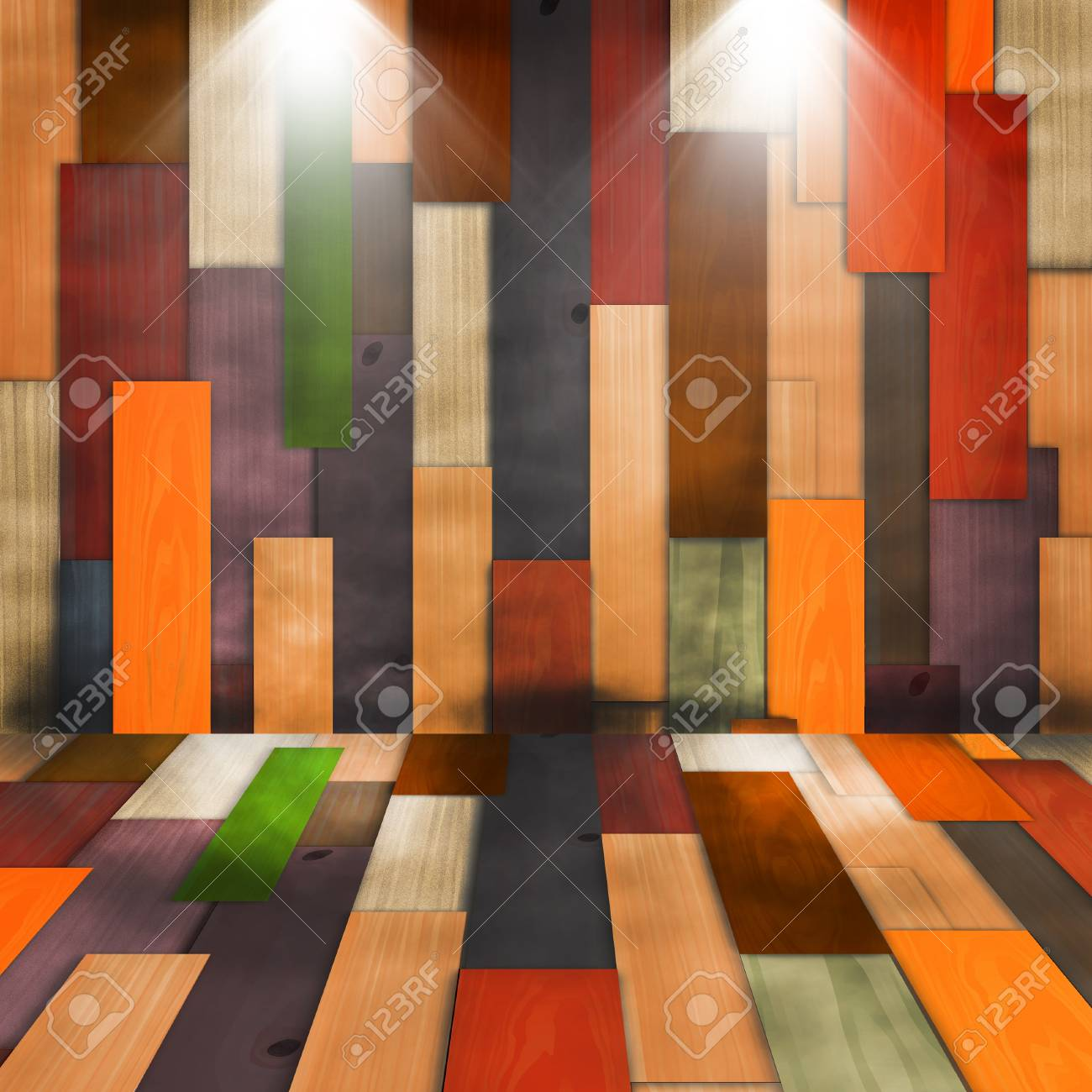 Old grunge colorful wood panels with spotlight used as background Stock Photo - 9831982