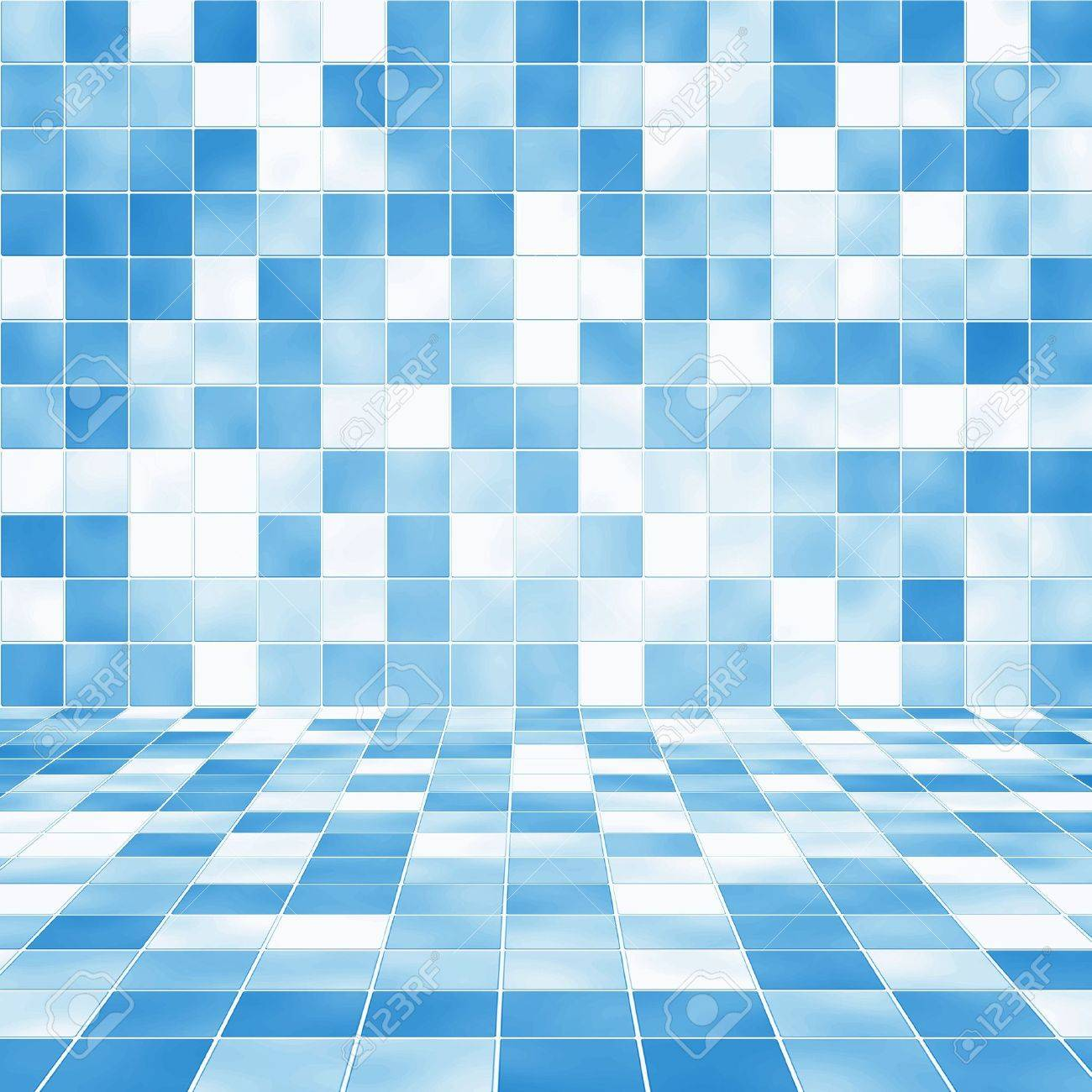 Interior Room With Blue Mosaic Tiled Wall Background Stock Photo ...