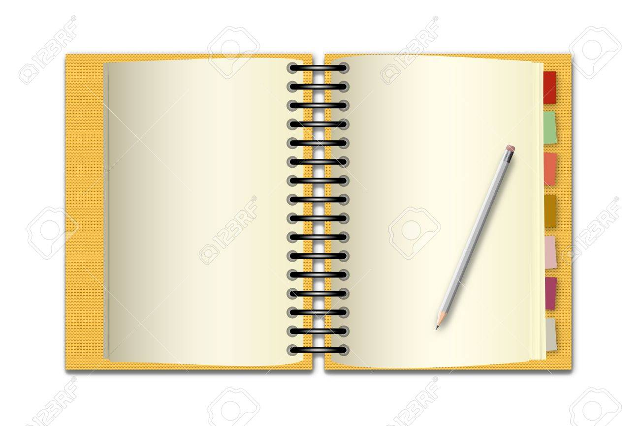 Yellow open notebook and pencil on white background Stock Photo - 13387351