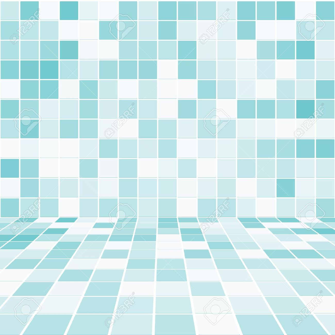 Interior Room with Mosaic Tiled Wall Vector - 13551179