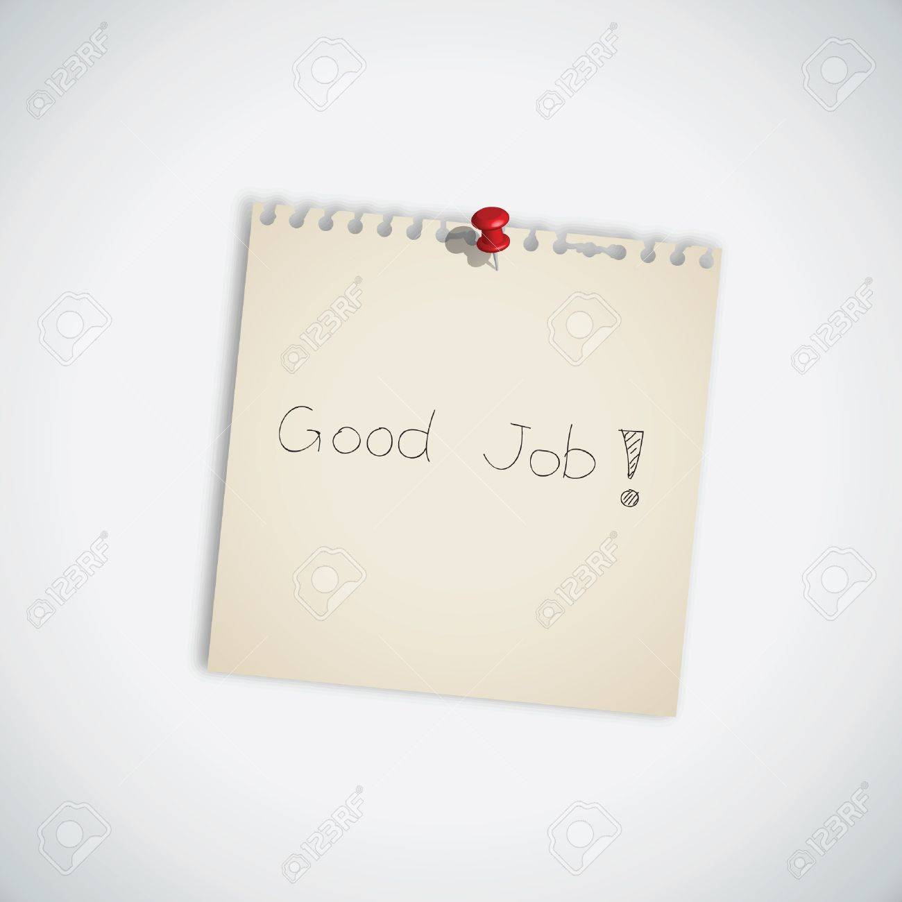 Good Job Word on Note Paper Stock Vector - 13984483