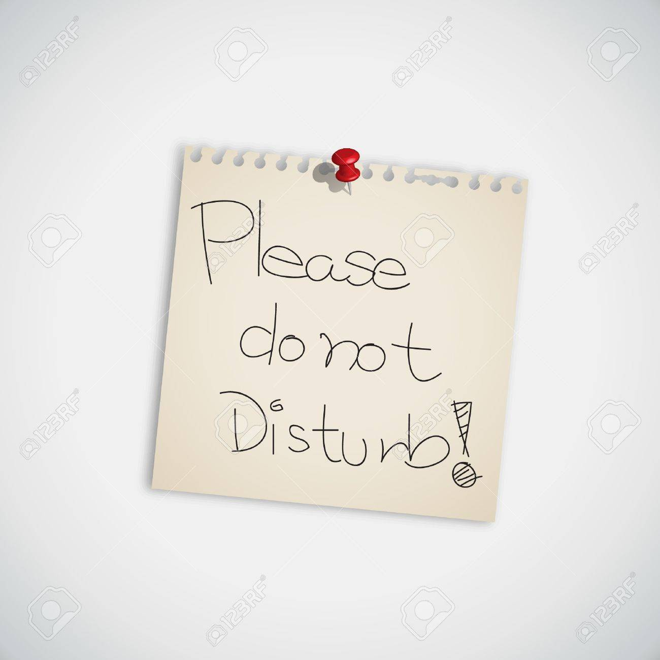 Handwriting Message   Please Do not Disturb   Message on Paper Note Stock Vector - 14710584