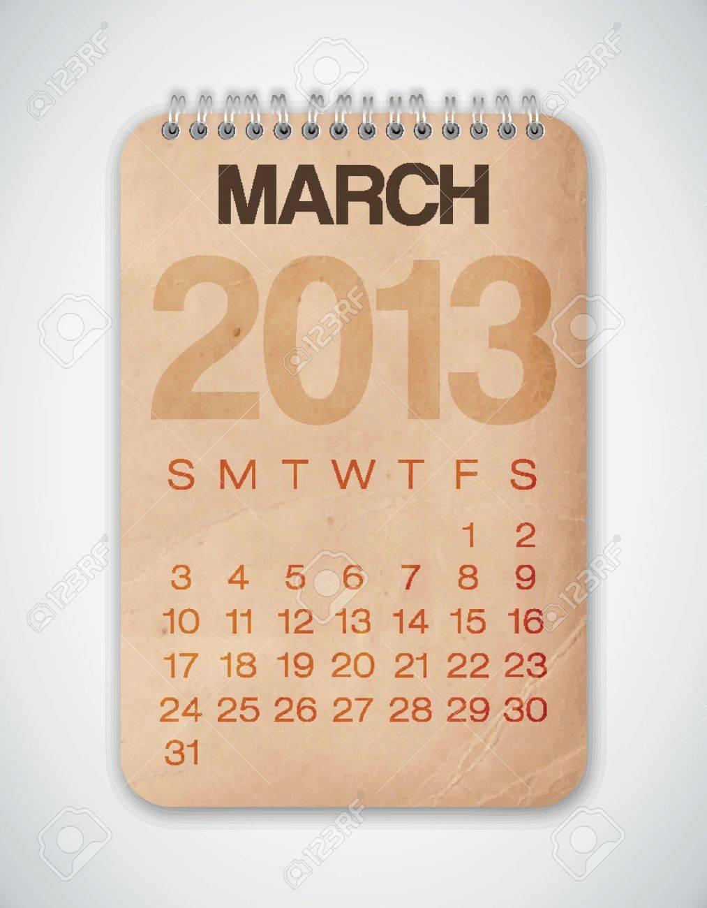 2013 Calendar March Grunge Texture Stock Vector - 15433108