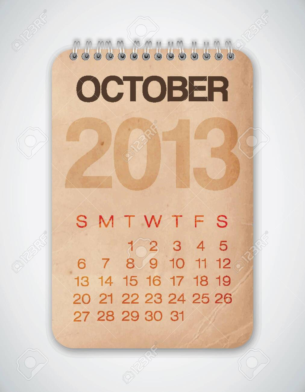 2013 Calendar October Grunge Texture Stock Vector - 15433107