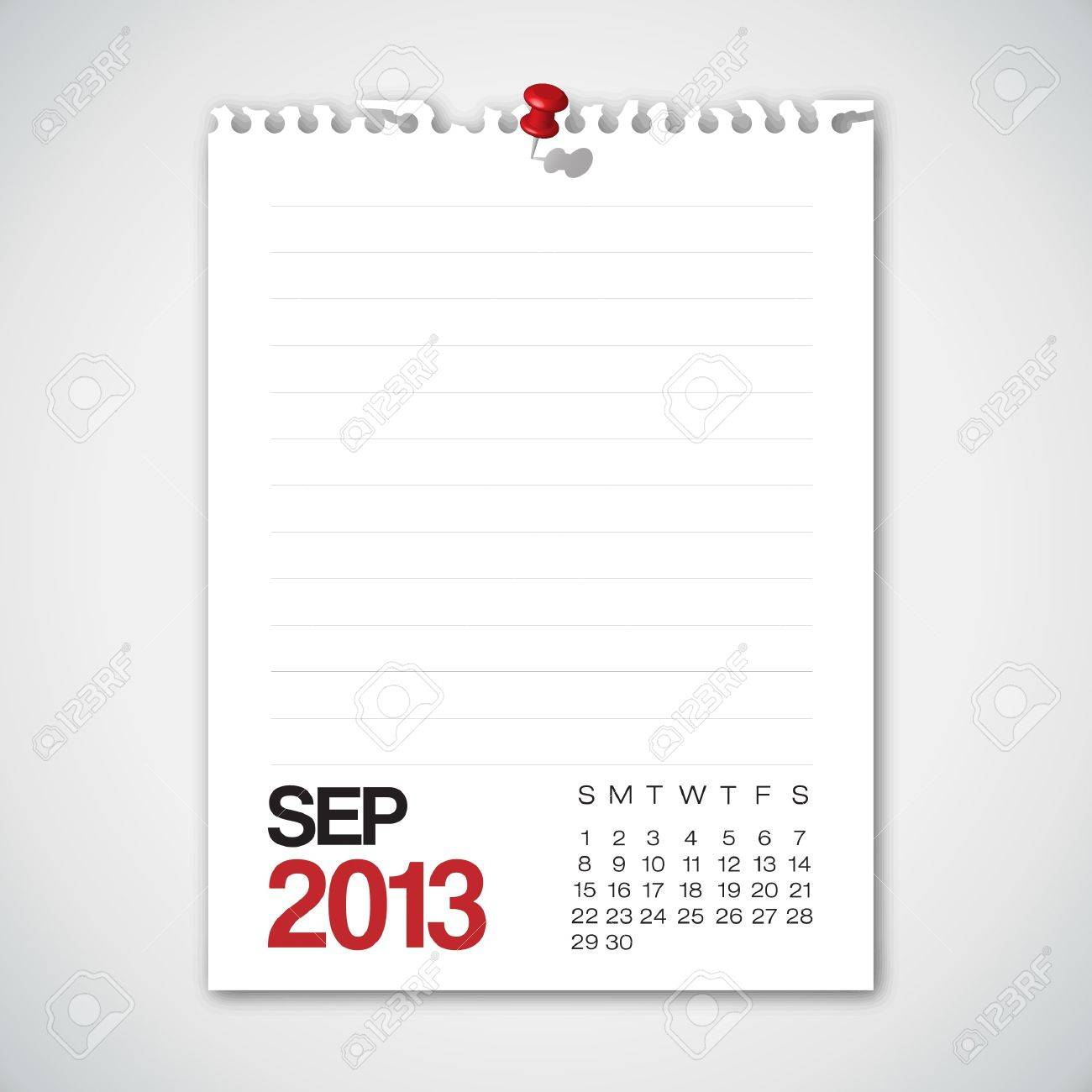 2013 Calendar September Old Torn Paper Stock Vector - 15732372