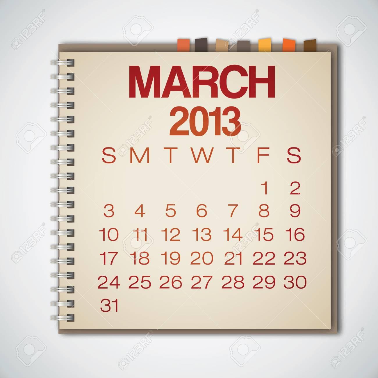 2013 Calendar March Notebook Vector Stock Vector - 16173389