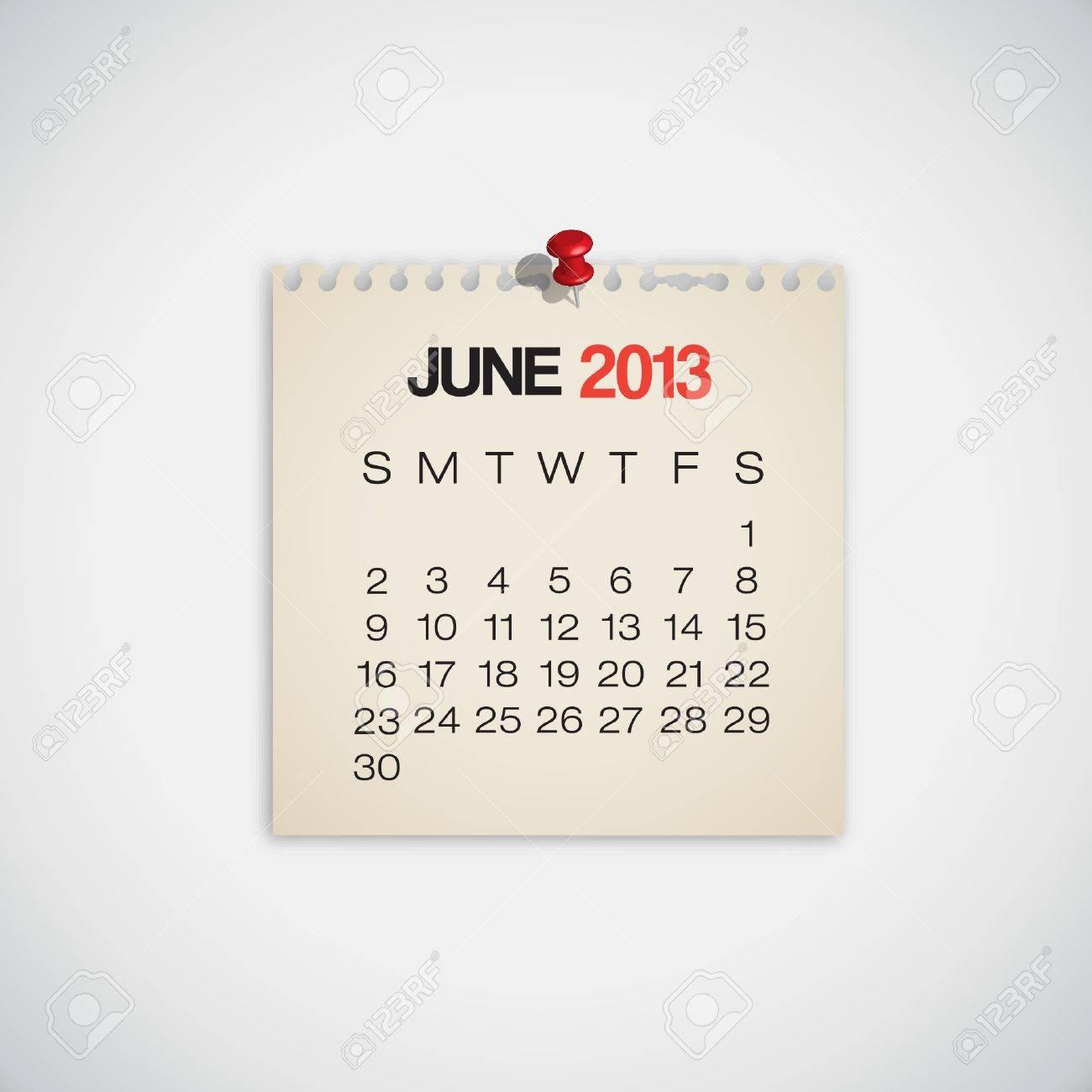 2013 Calendar June Old Torn Paper Vector Stock Vector - 16173413