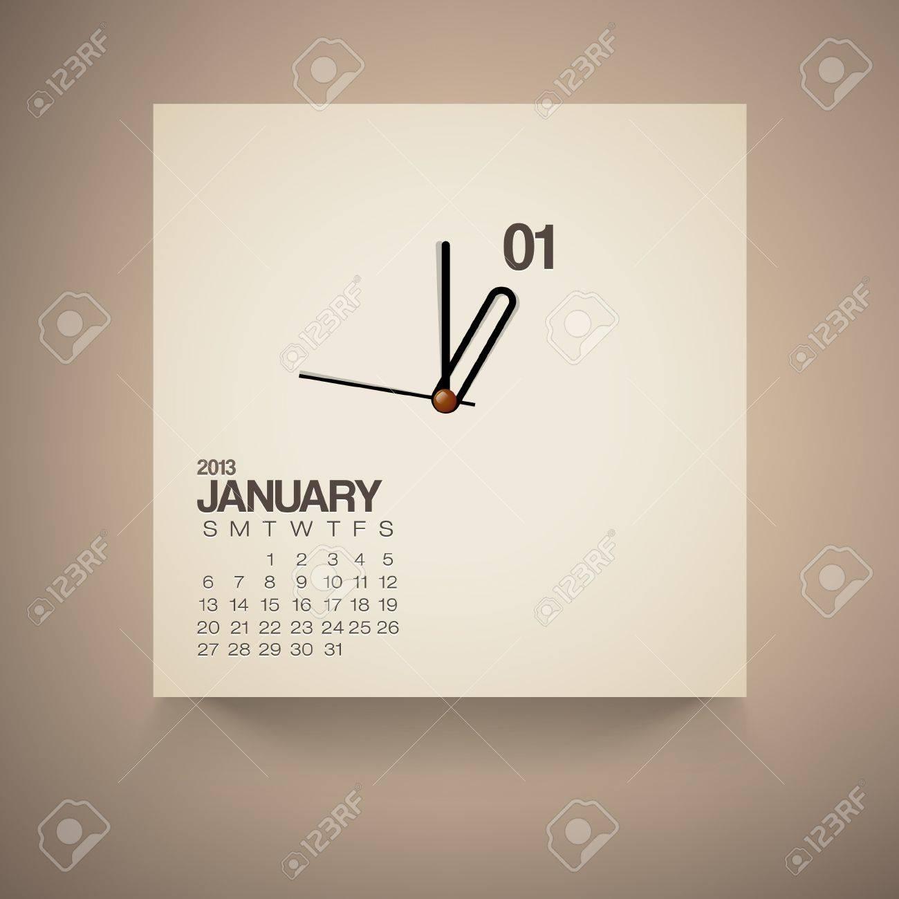 2013 Calendar January Clock Design Vector Stock Vector - 16173515
