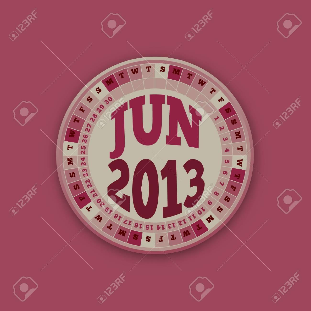 Roulette Wheel Design 2013 Calendar June Stock Vector - 16418496