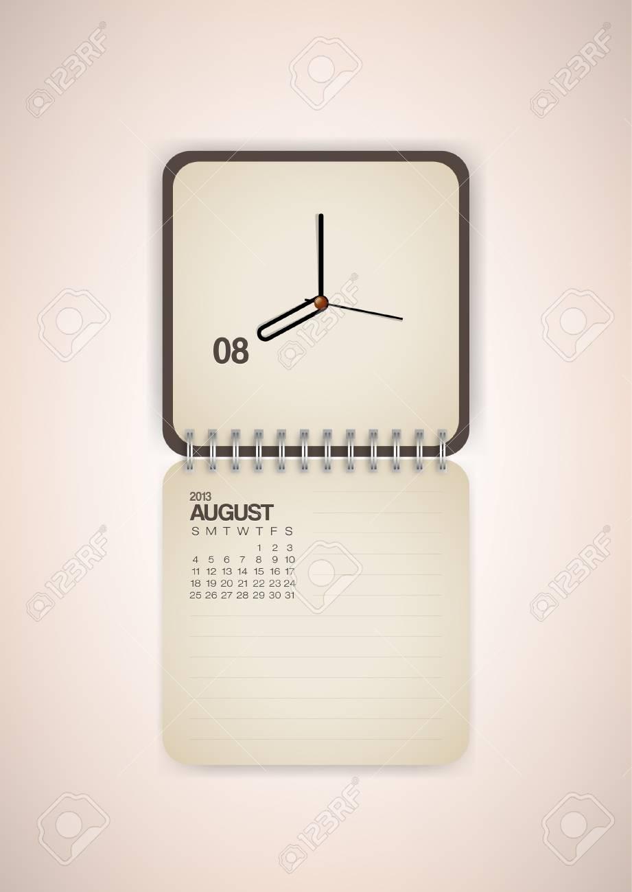 2013 Calendar August Clock Design Vector Stock Vector - 17750778