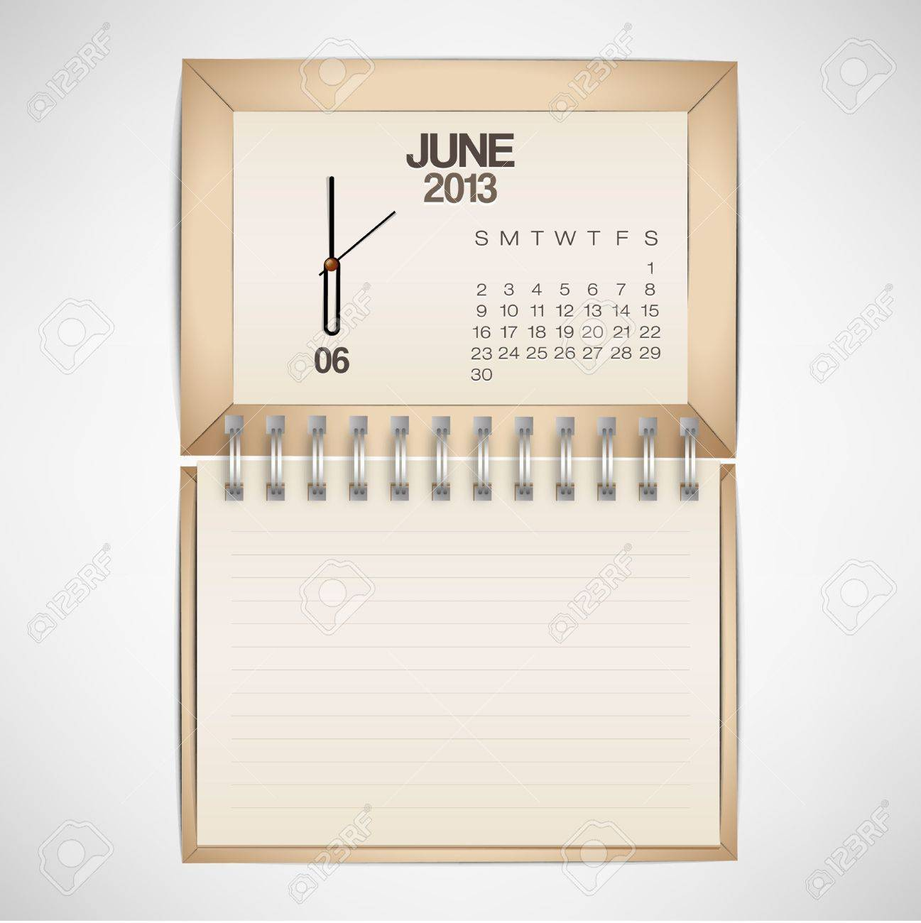 2013 Calendar June Clock Design Vector Stock Vector - 17750772