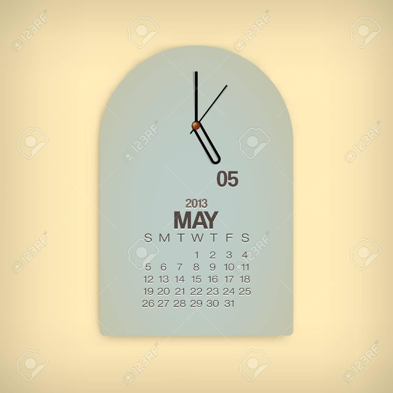 2013 Calendar May Clock Design Vector Stock Vector - 17750796