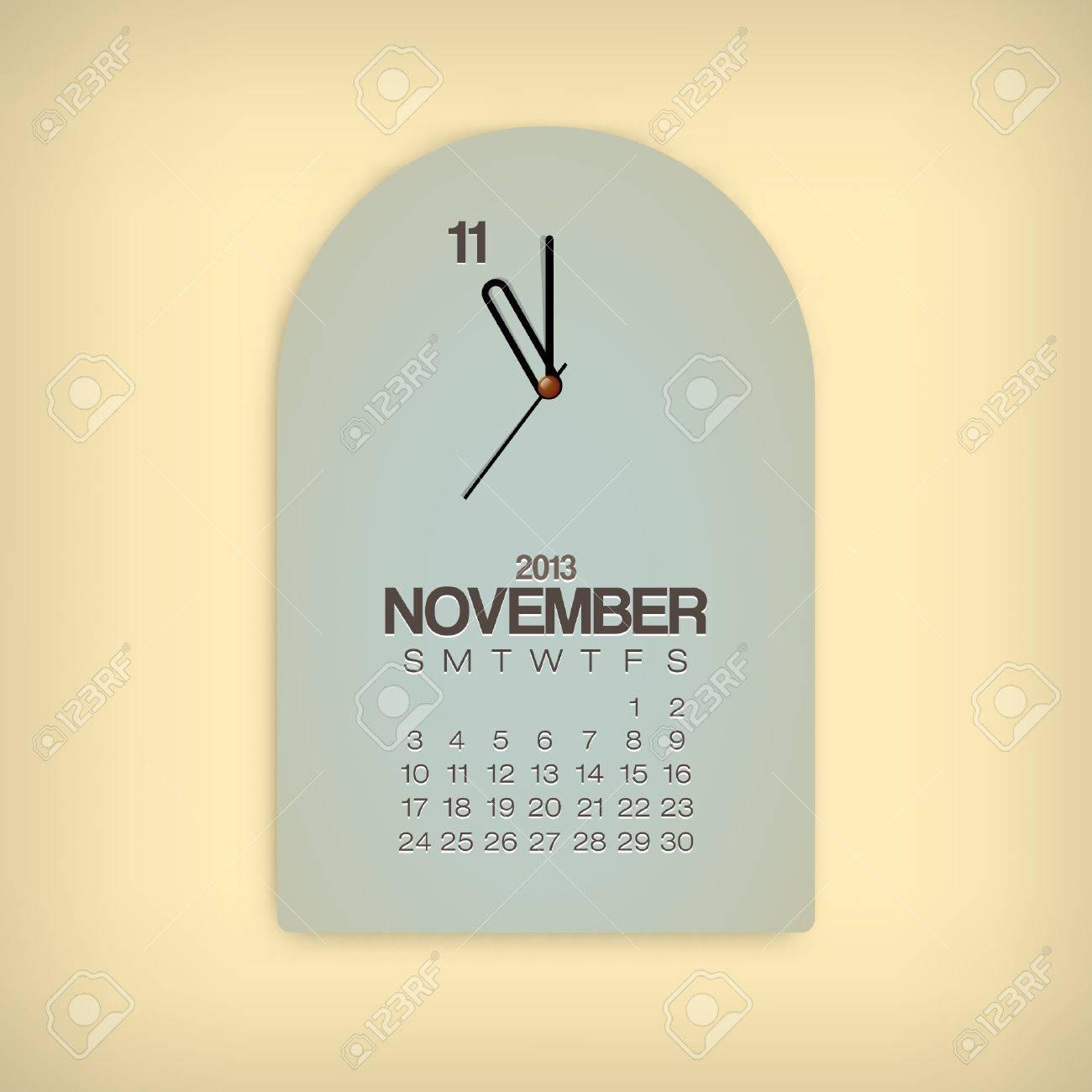 2013 Calendar November Clock Design Vector Stock Vector - 17750789