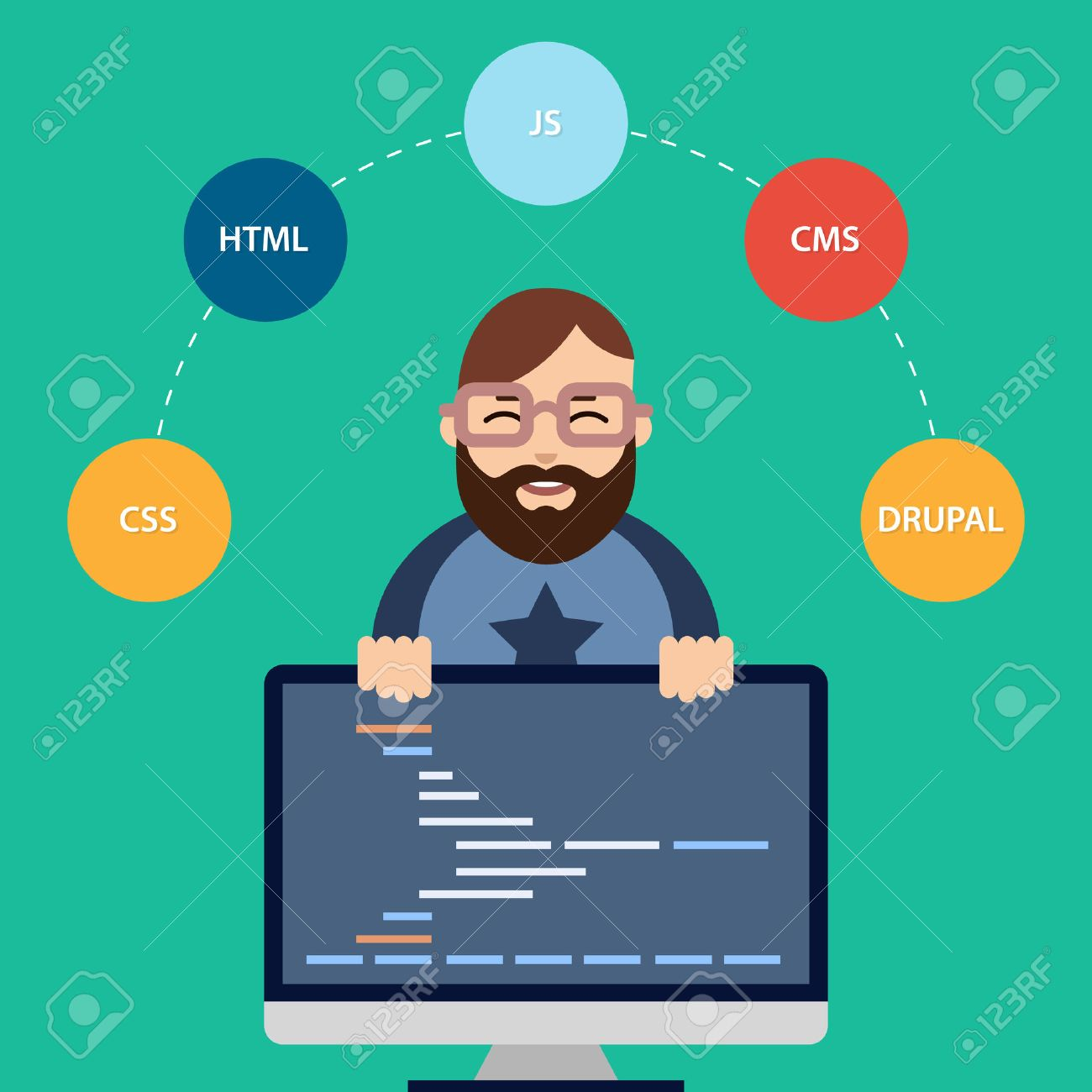 Superb Great Vector Vector Flat Illustration Of Male Computer Programmer Or Web  Developer At His Workplace.