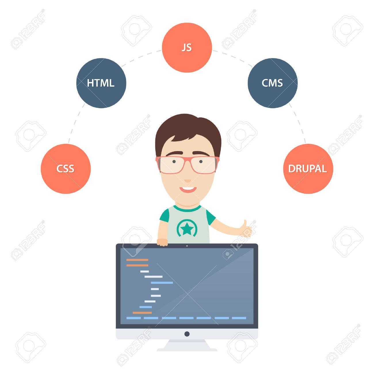 かわいい男性プログラマーやモニターで web 開発者のベクトル フラット