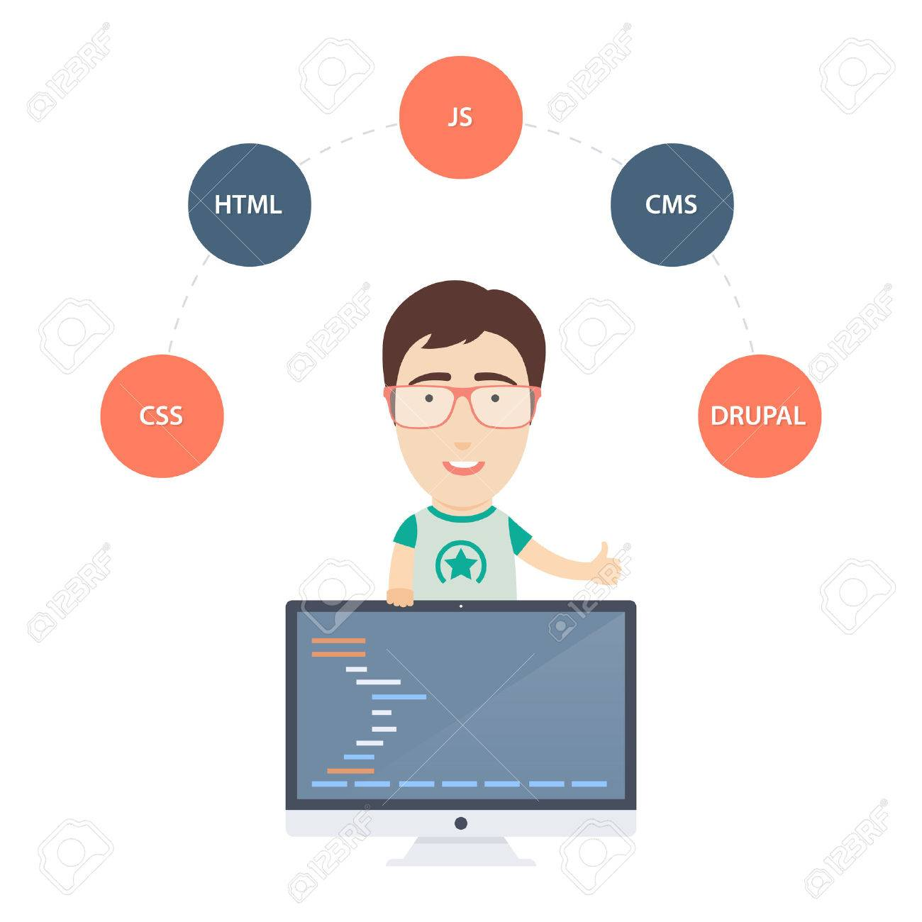 Vector Flat Illustration of a Cute Male Computer Programmer or Web Developer with Monitor. - 38638077