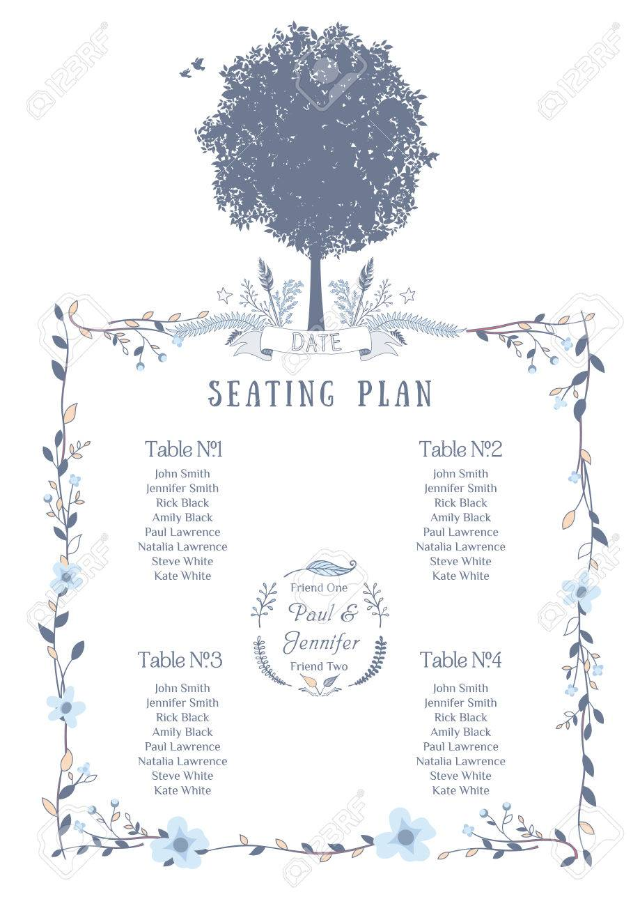 Wedding Seating Chart Includes Tables List Tree Birds And