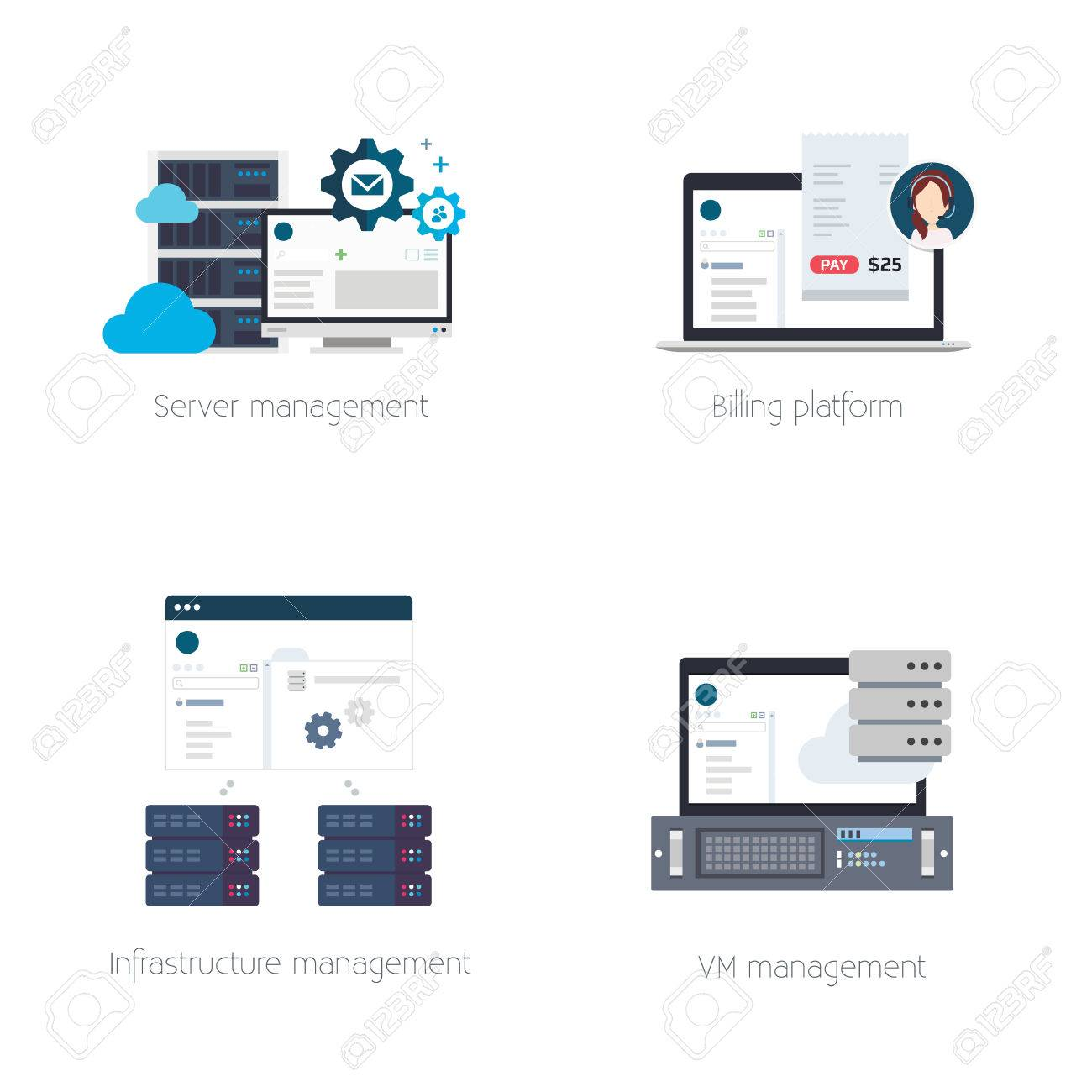 Set of Illustrations or Icons of Software Products for Hosting