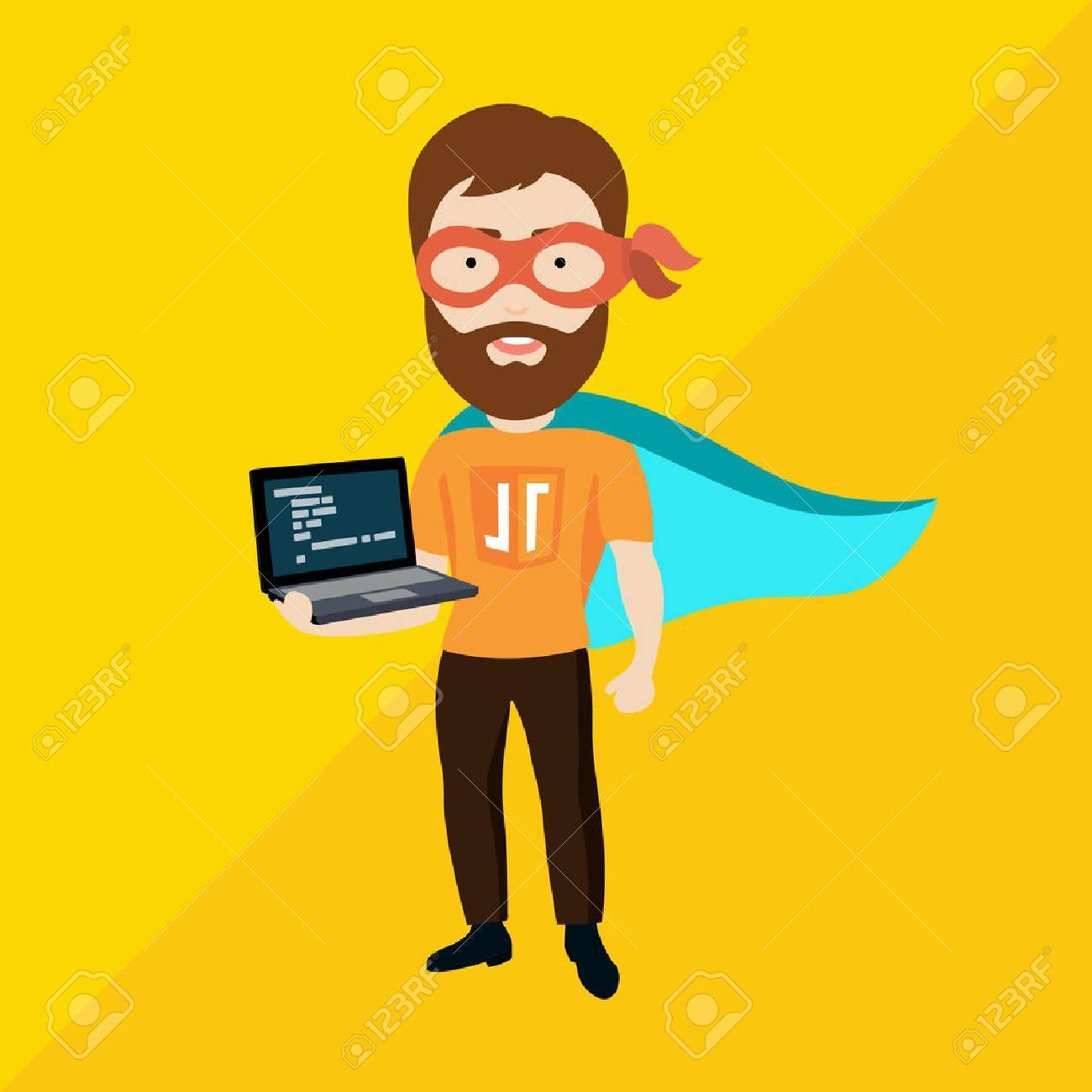 Conceptual Vector Flat Illustration of a Man With Laptop Depicting His Advanced Skills in Programming - 66663291