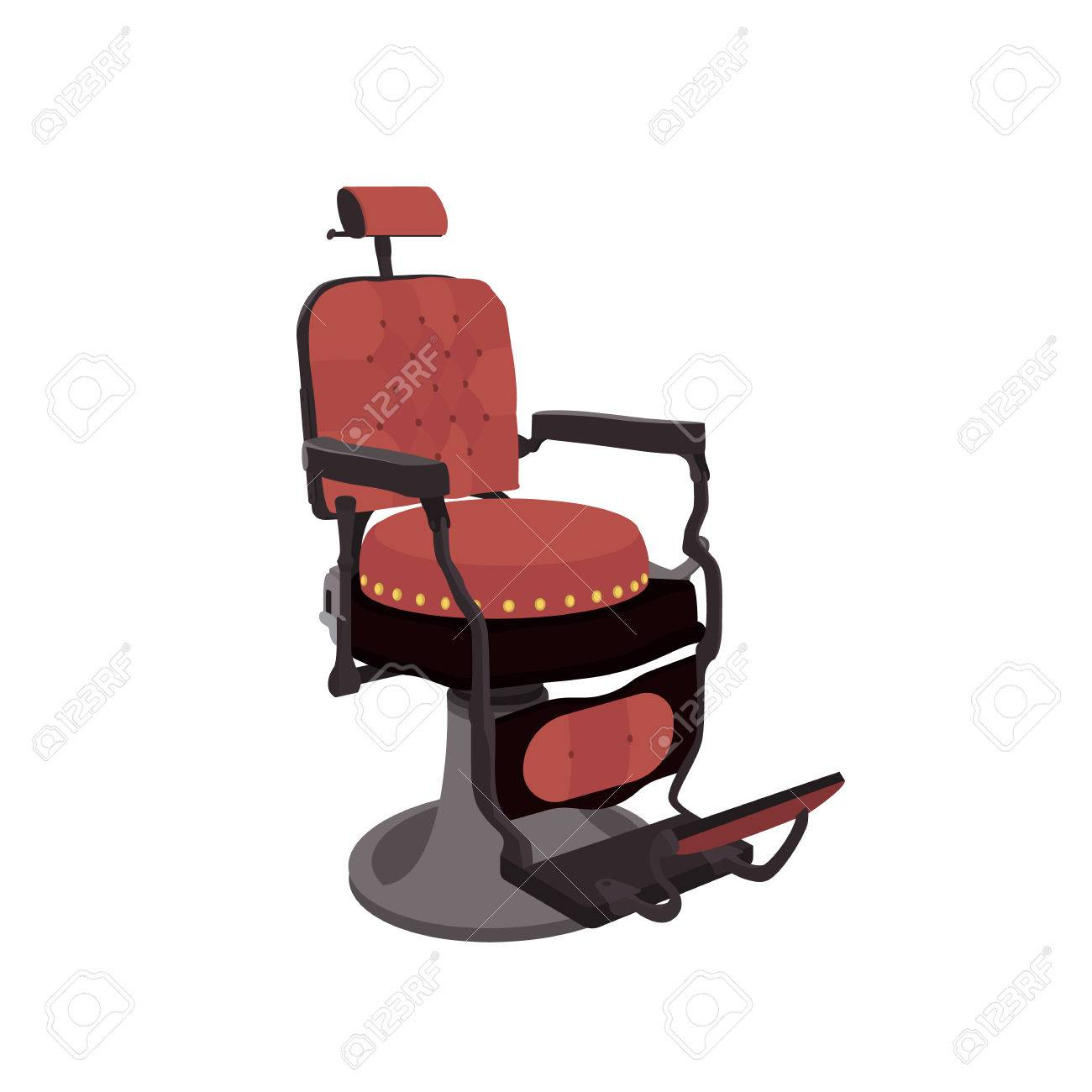 Flat Vector Illustration Of A Vintage Barber Chair Stock