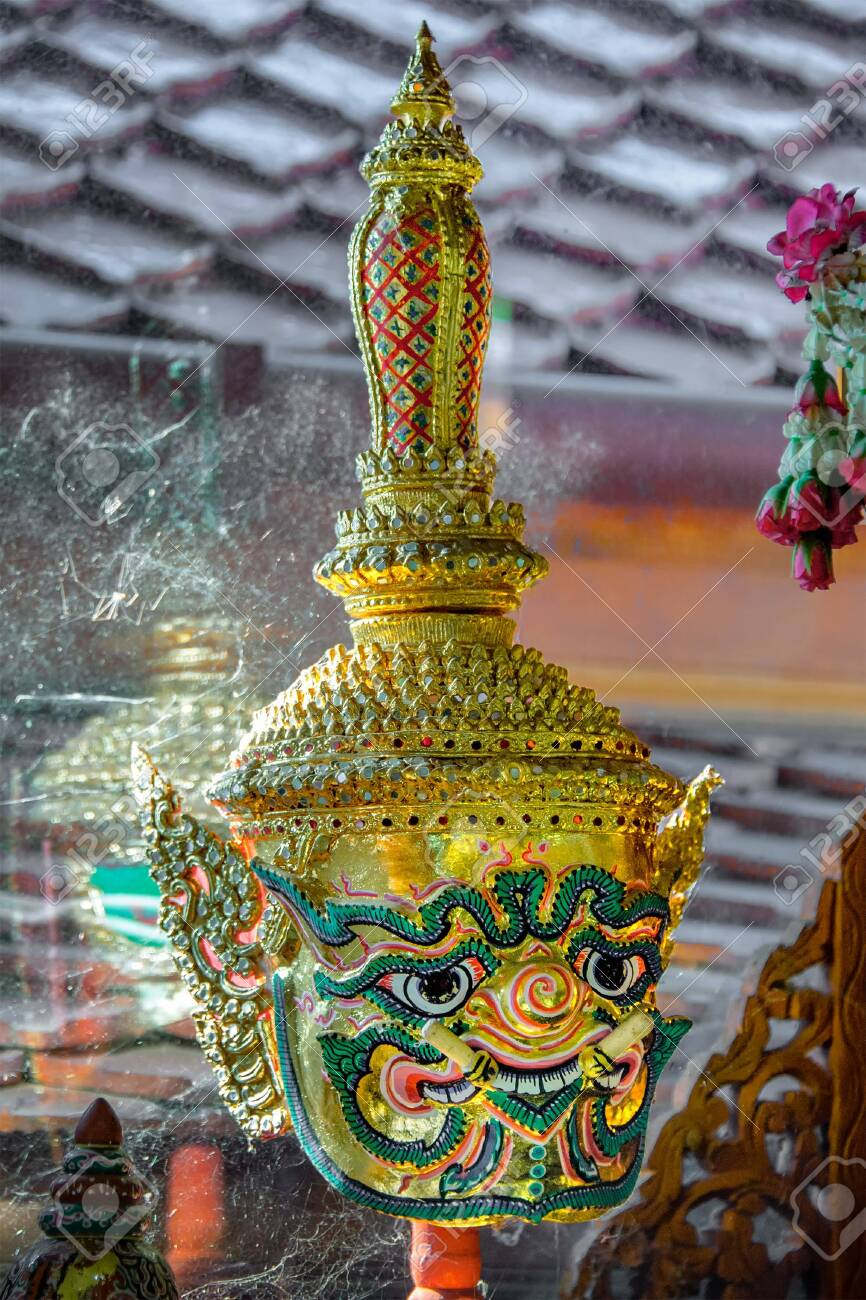 Khon mask. A mask worn over a pantomime's head during a Thai traditional dance drama. Each mask represents a character such as monstrous beasts, devils, heroes, heroes, ogres, monkeys, etc. - 140169877