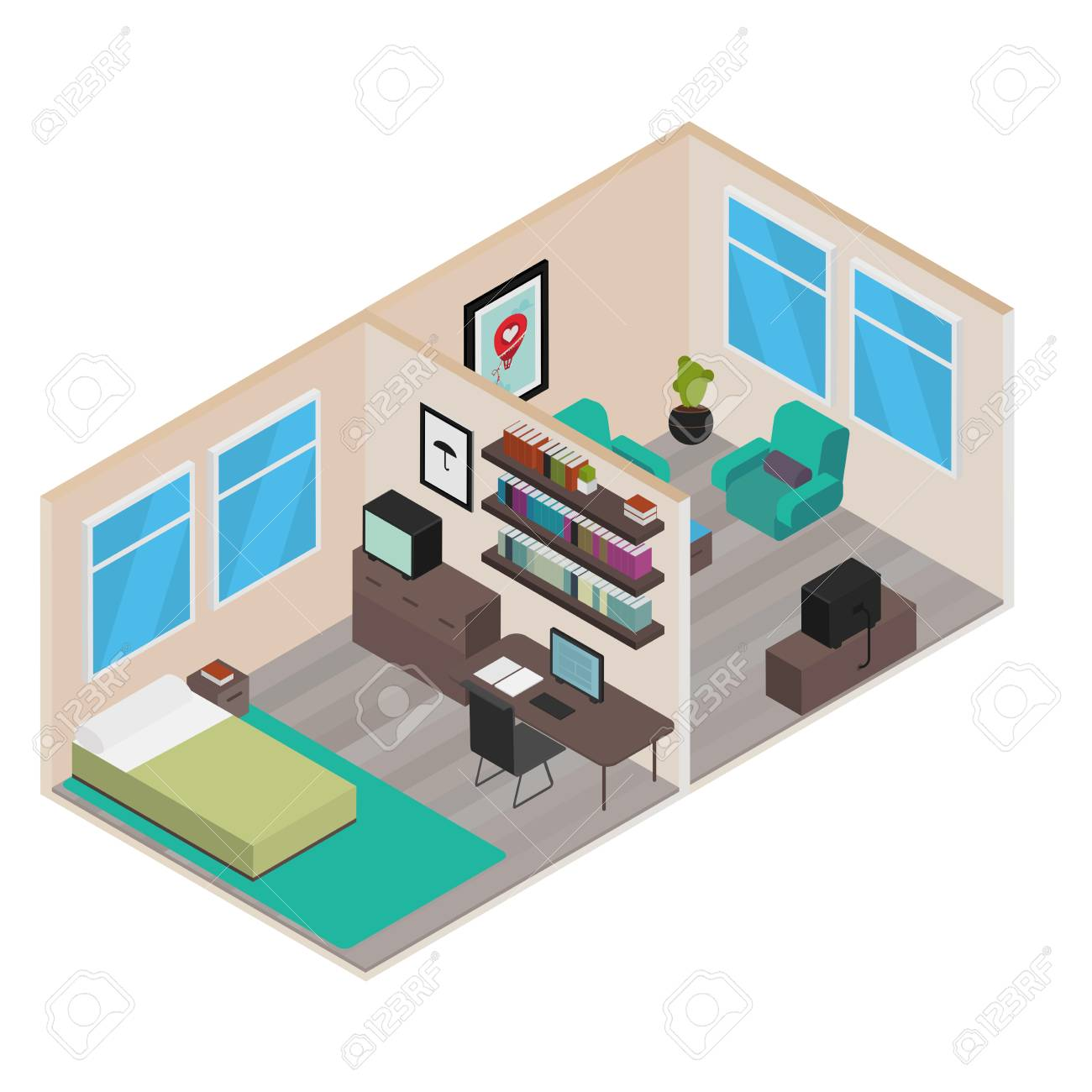 Isometric house rooms home set royalty free cliparts vectors and isometric house rooms home set stock vector 74724866 ccuart Choice Image