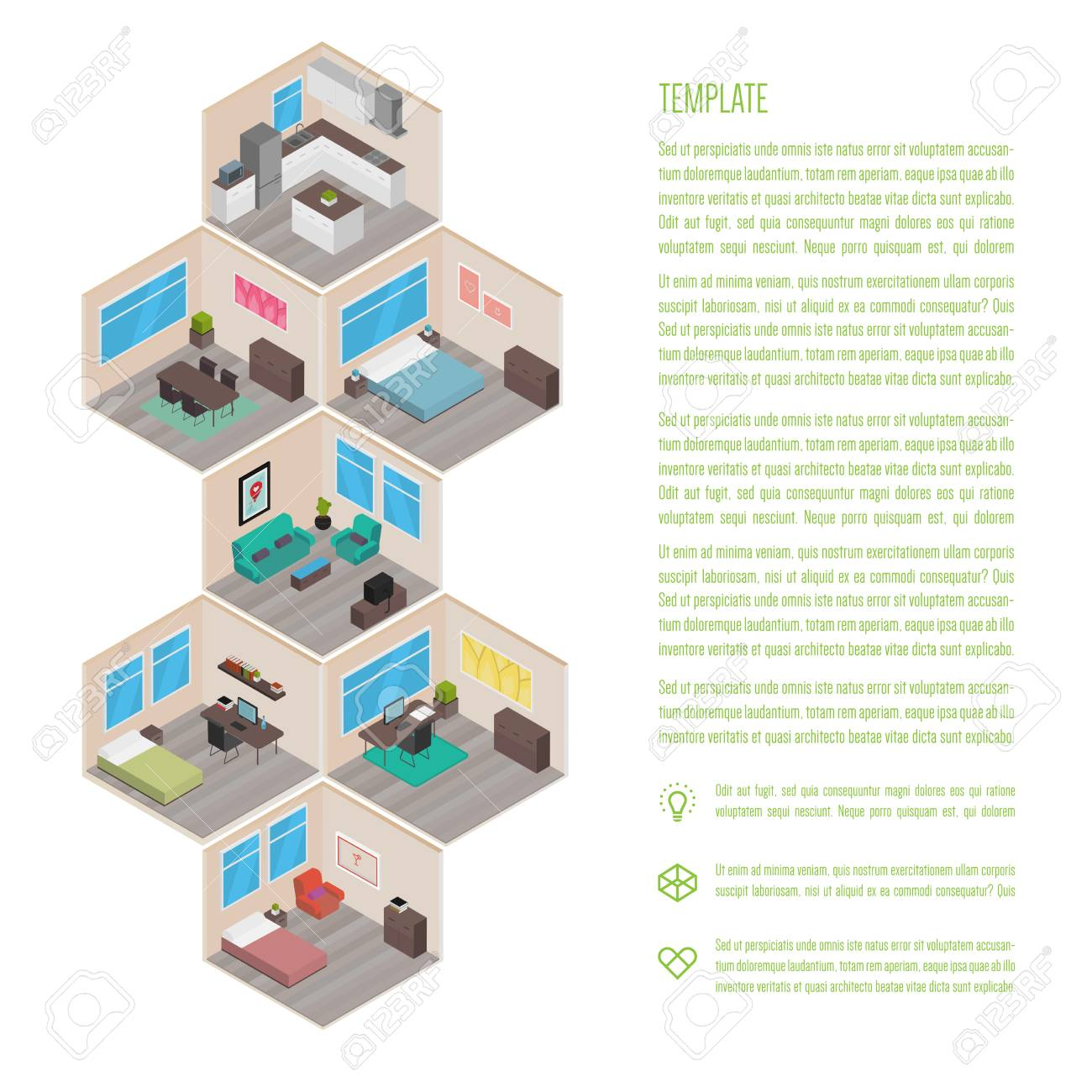 Isometric house rooms infographics royalty free cliparts vectors isometric house rooms infographics stock vector 74641021 ccuart Choice Image