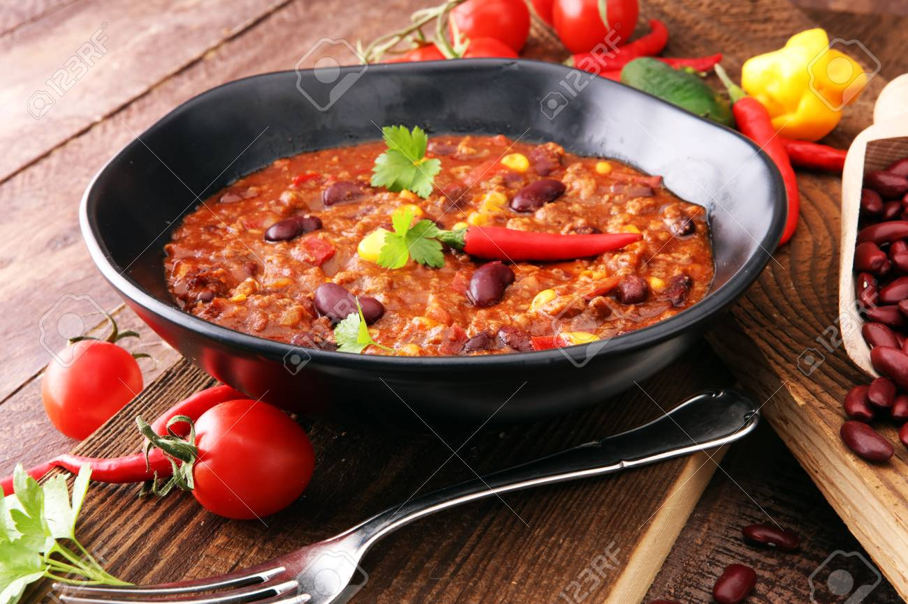 Hot chili con carne - mexican food tasty and spicy. - 92145880