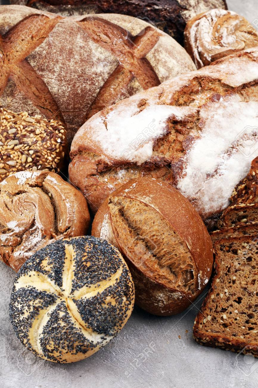 Different Kinds Of Bread And Bread Rolls Kitchen Or Bakery Poster