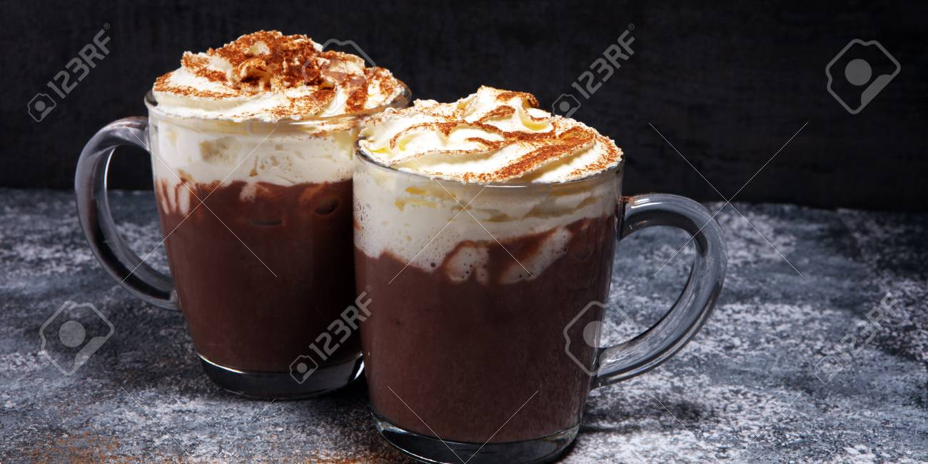 Hot chocolate cocoa with whipped cream for xmas on table. - 113718050