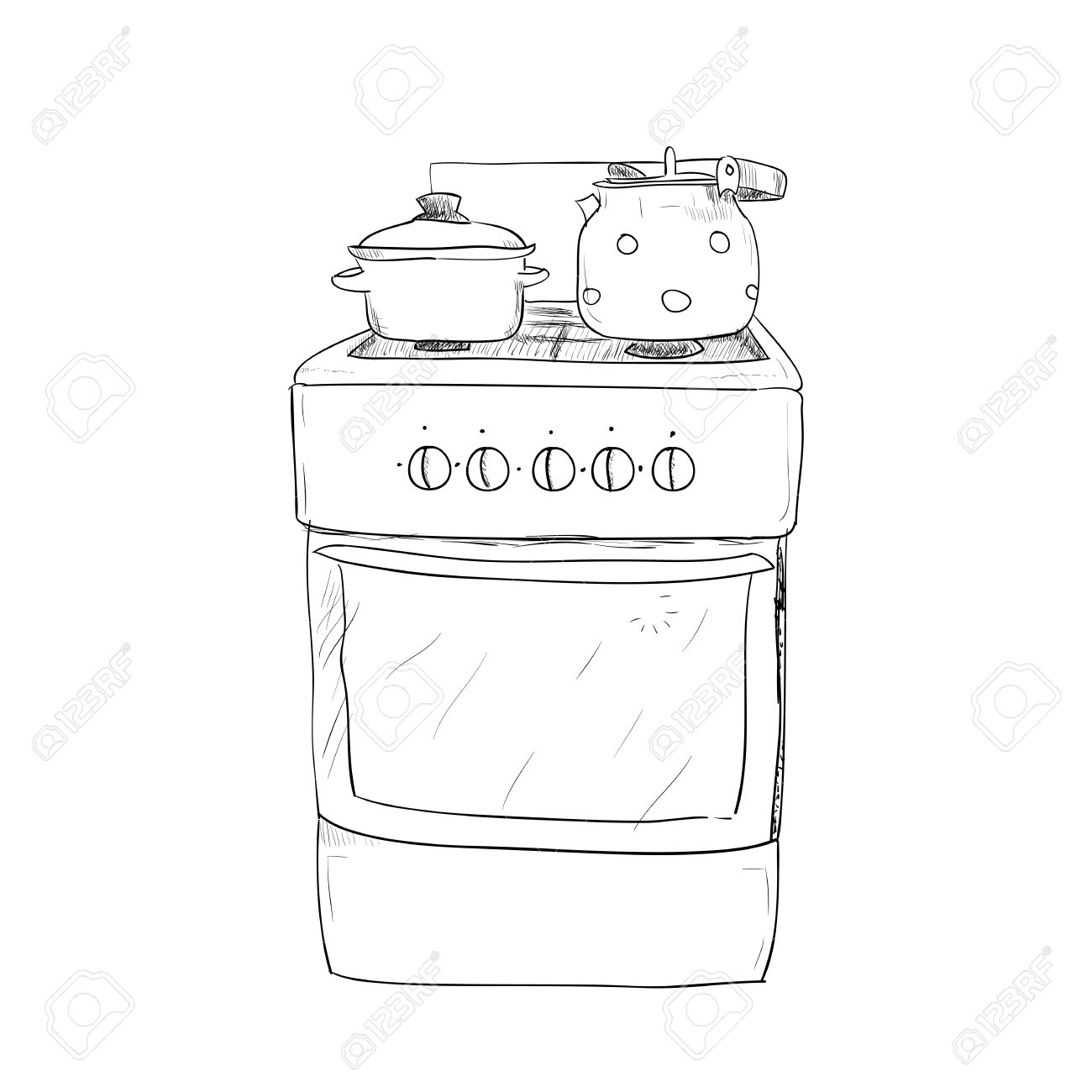 Hand Drawn Sketch Of Kitchen Stove With Kettle And Pan Stock Vector