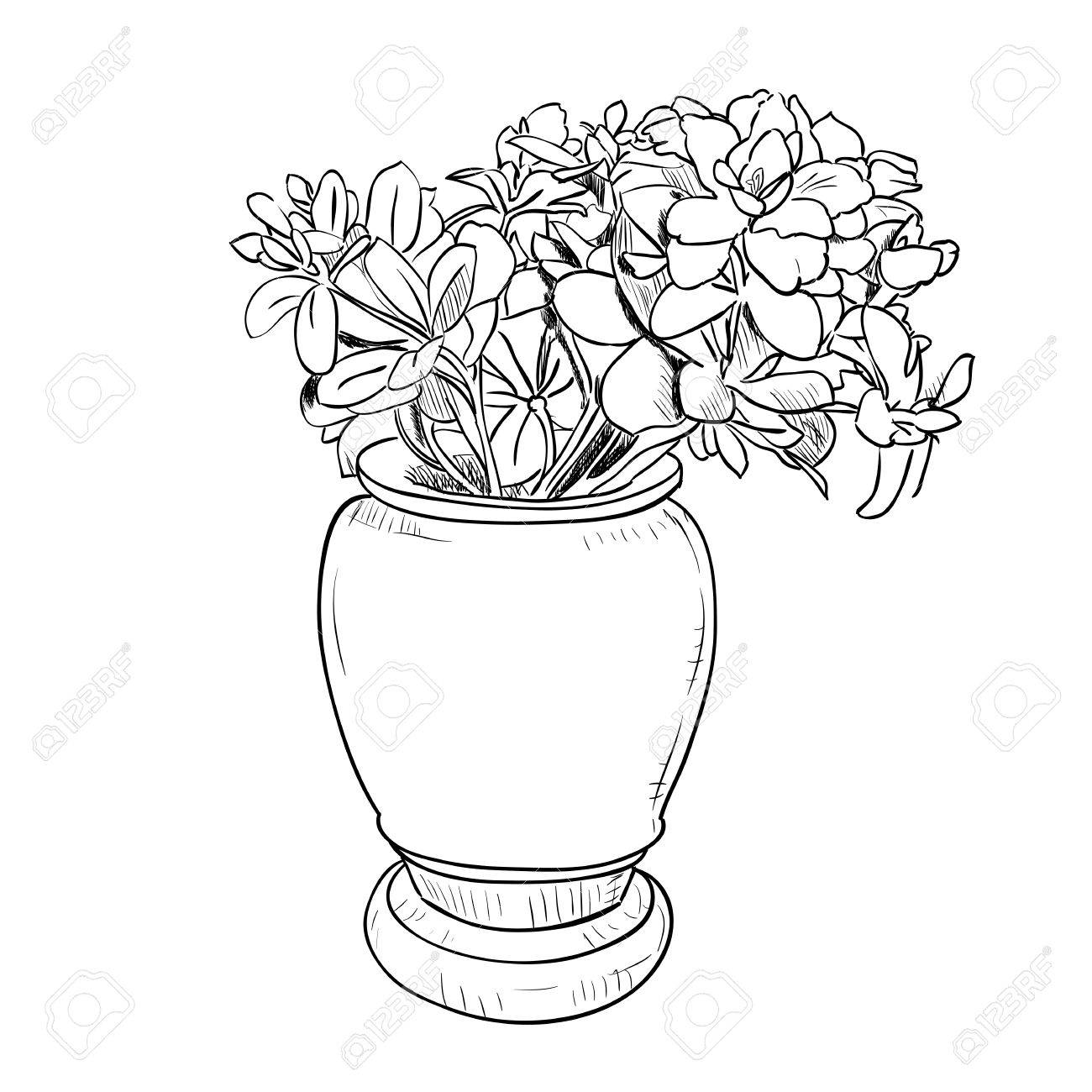 Vector drawing sketch of vase with flowers hand draw illustration vector drawing sketch of vase with flowers hand draw illustration stock vector 43440137 reviewsmspy